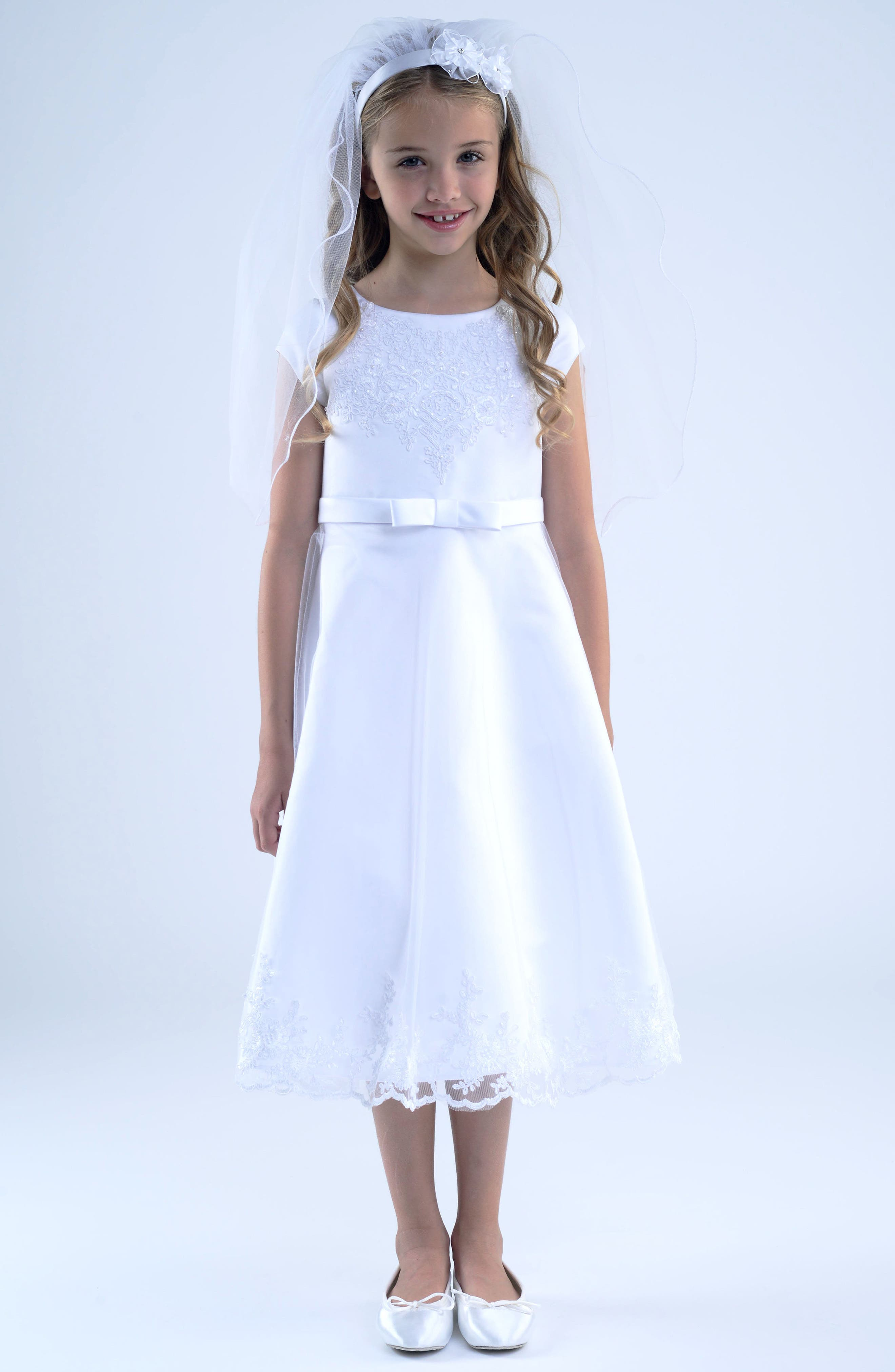 Embroidered A-Line Dress,                             Main thumbnail 1, color,                             White