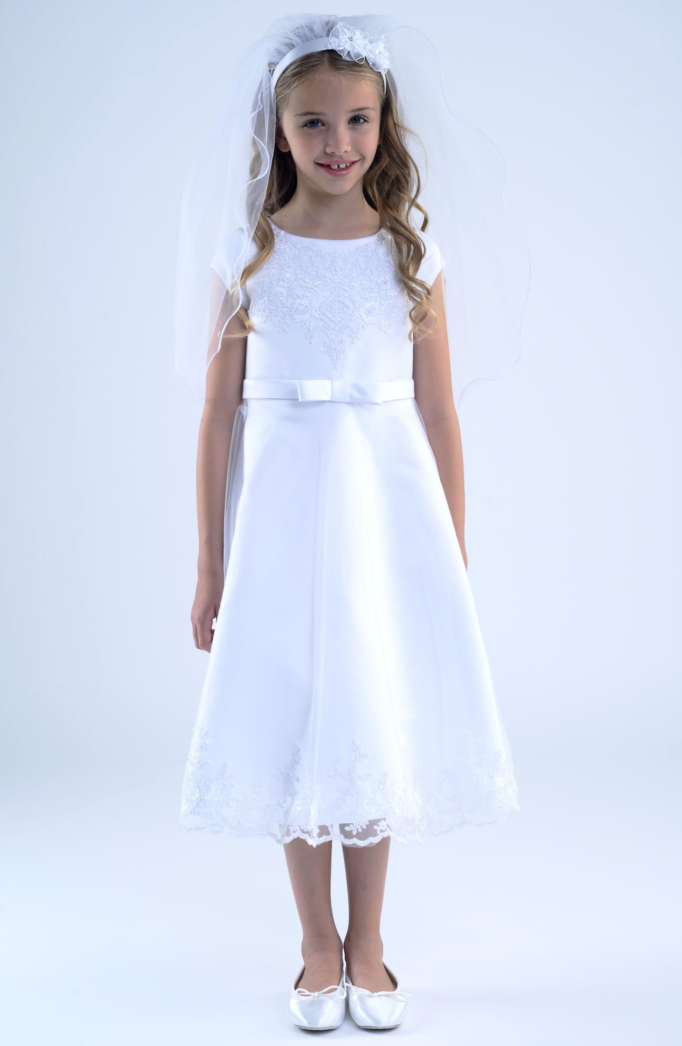 Main Image - Us Angels Embroidered A-Line Dress (Big Girls)