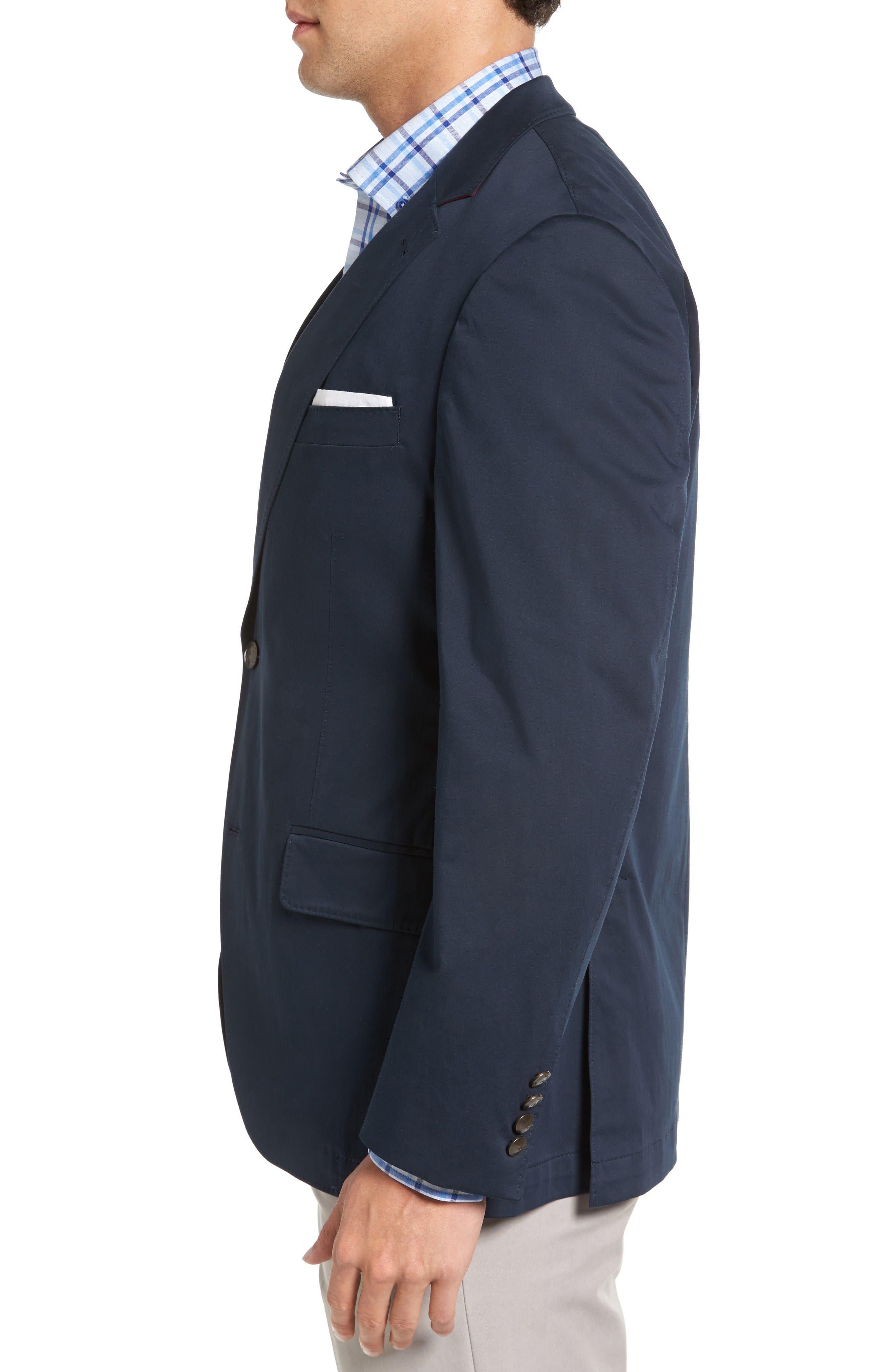 Mathis Classic Fit Stretch Cotton Blazer,                             Alternate thumbnail 3, color,                             Navy