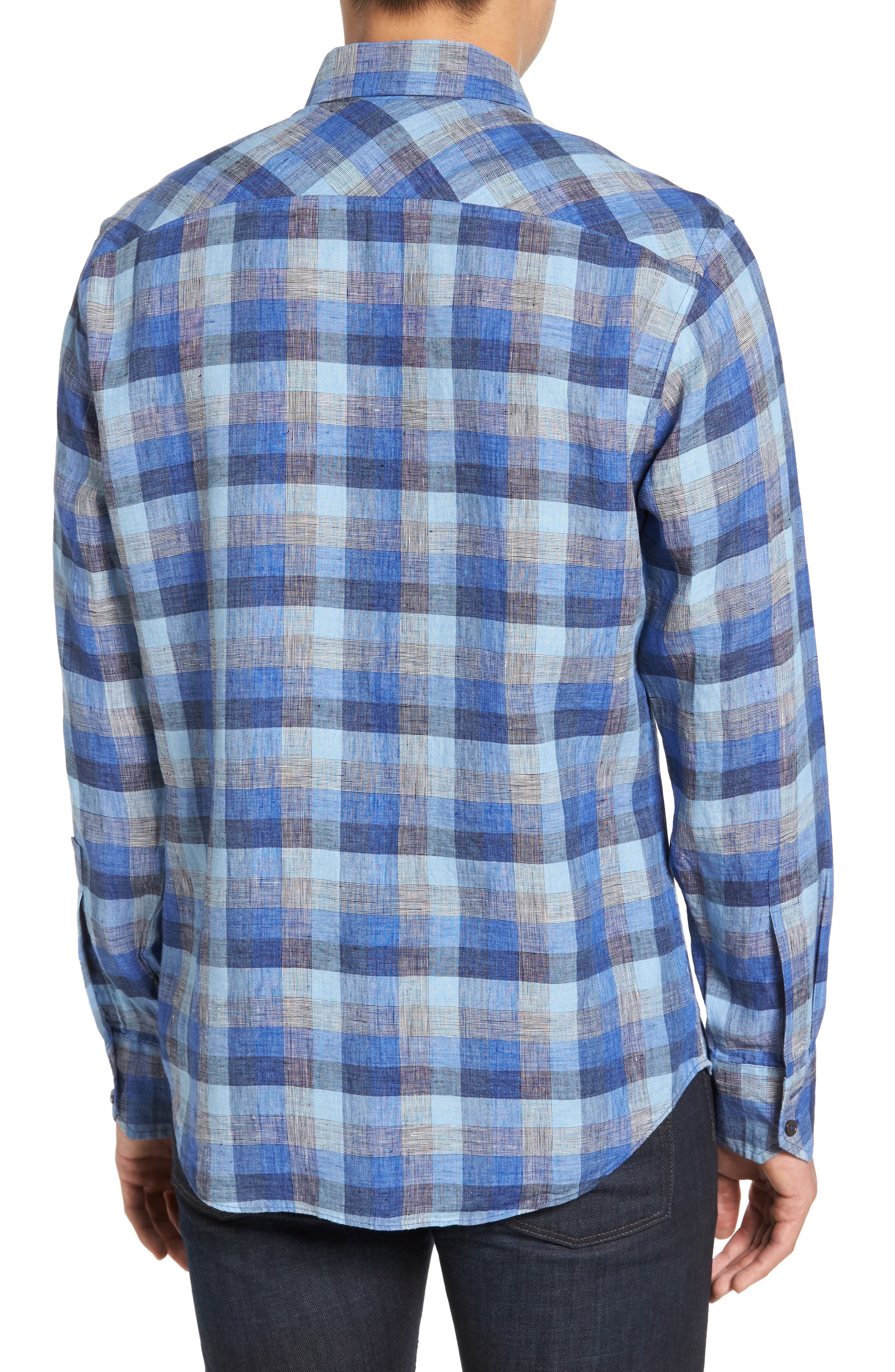 Kerner Plaid Sport Shirt,                             Alternate thumbnail 2, color,                             Blue