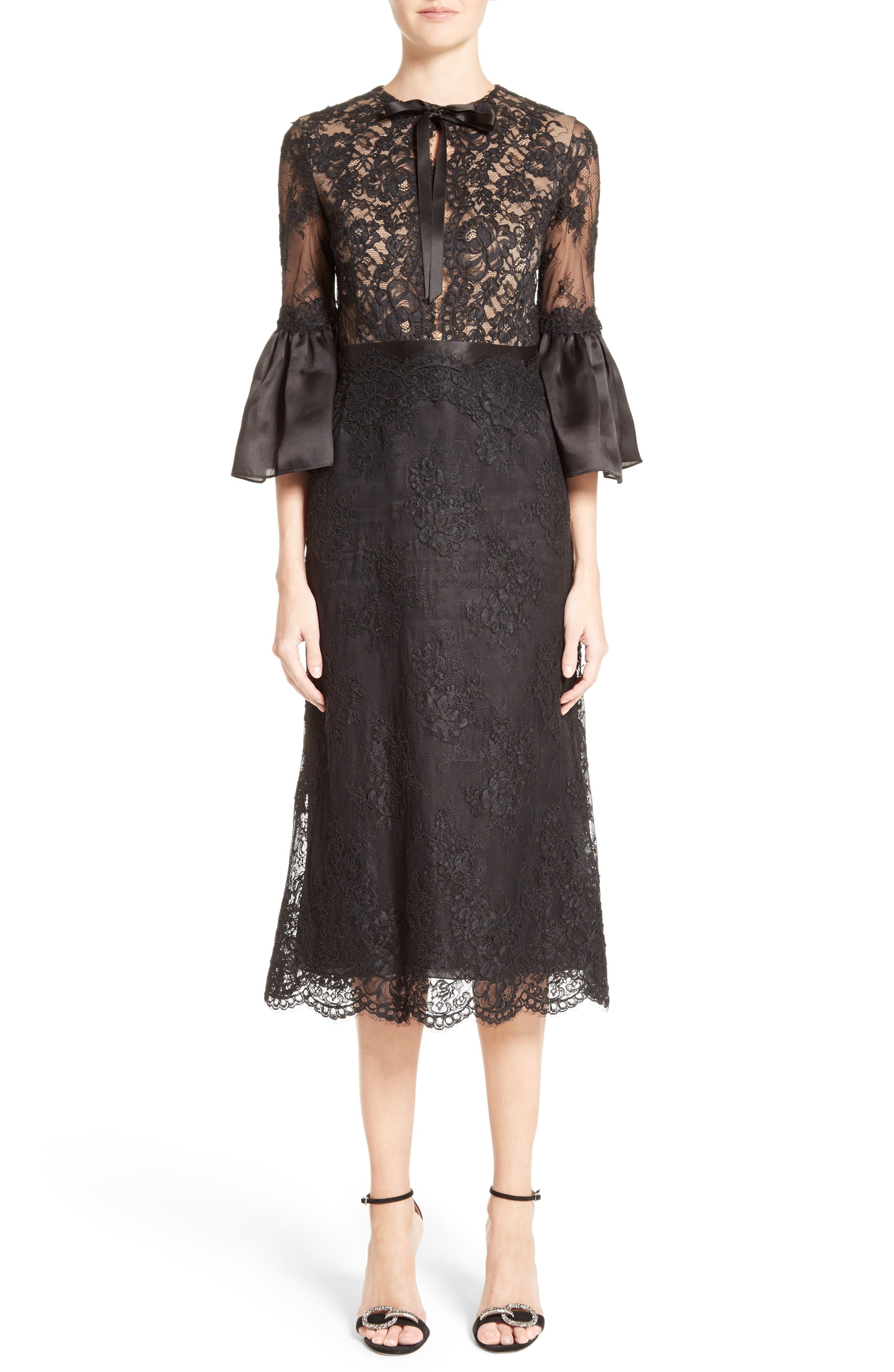 Marchesa Bell Sleeve Lace Midi Dress