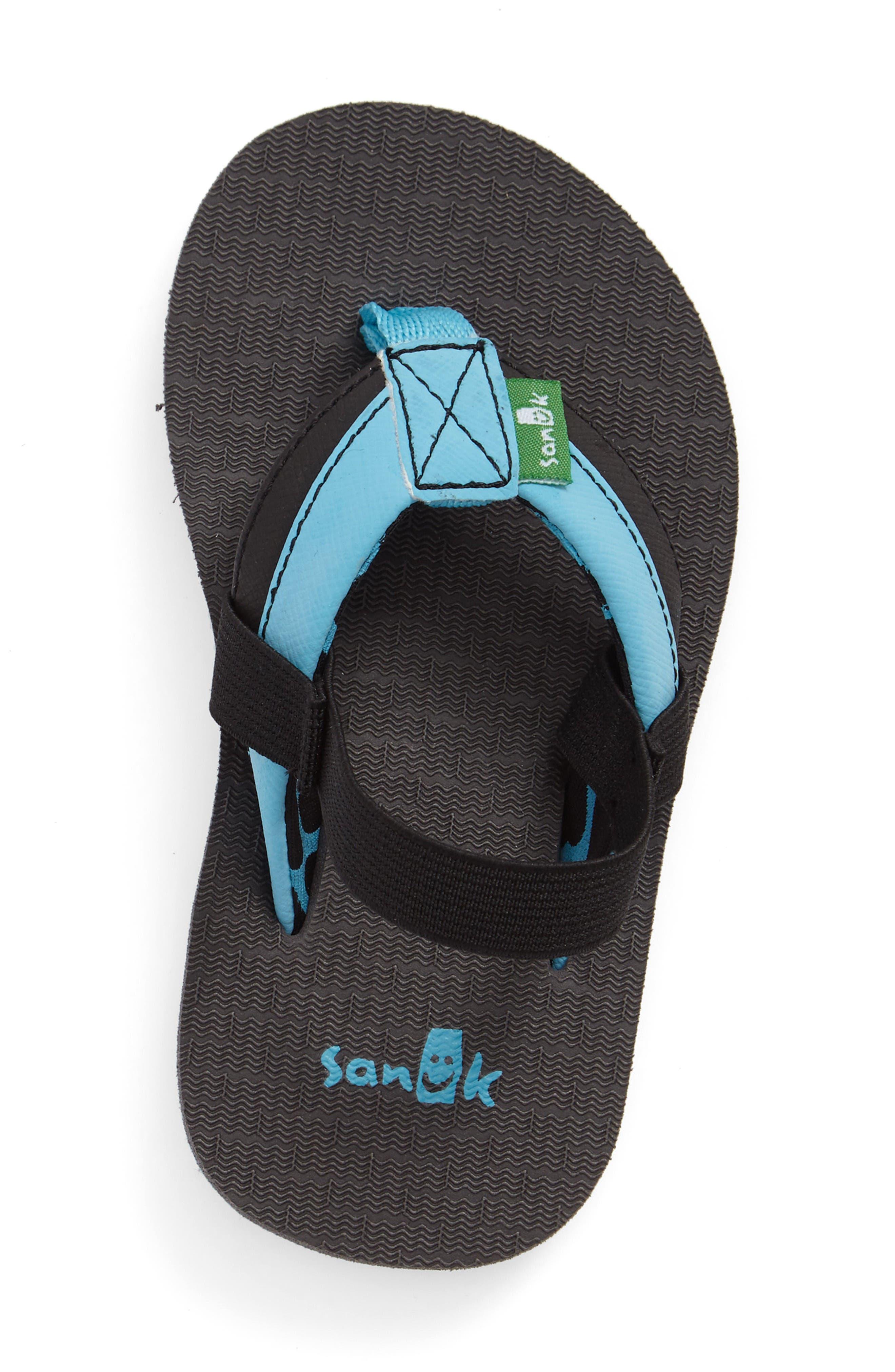 'Rootbeer Cozy' Lightweight Flip Flop Sandal,                             Alternate thumbnail 3, color,                             Aqua/ Black