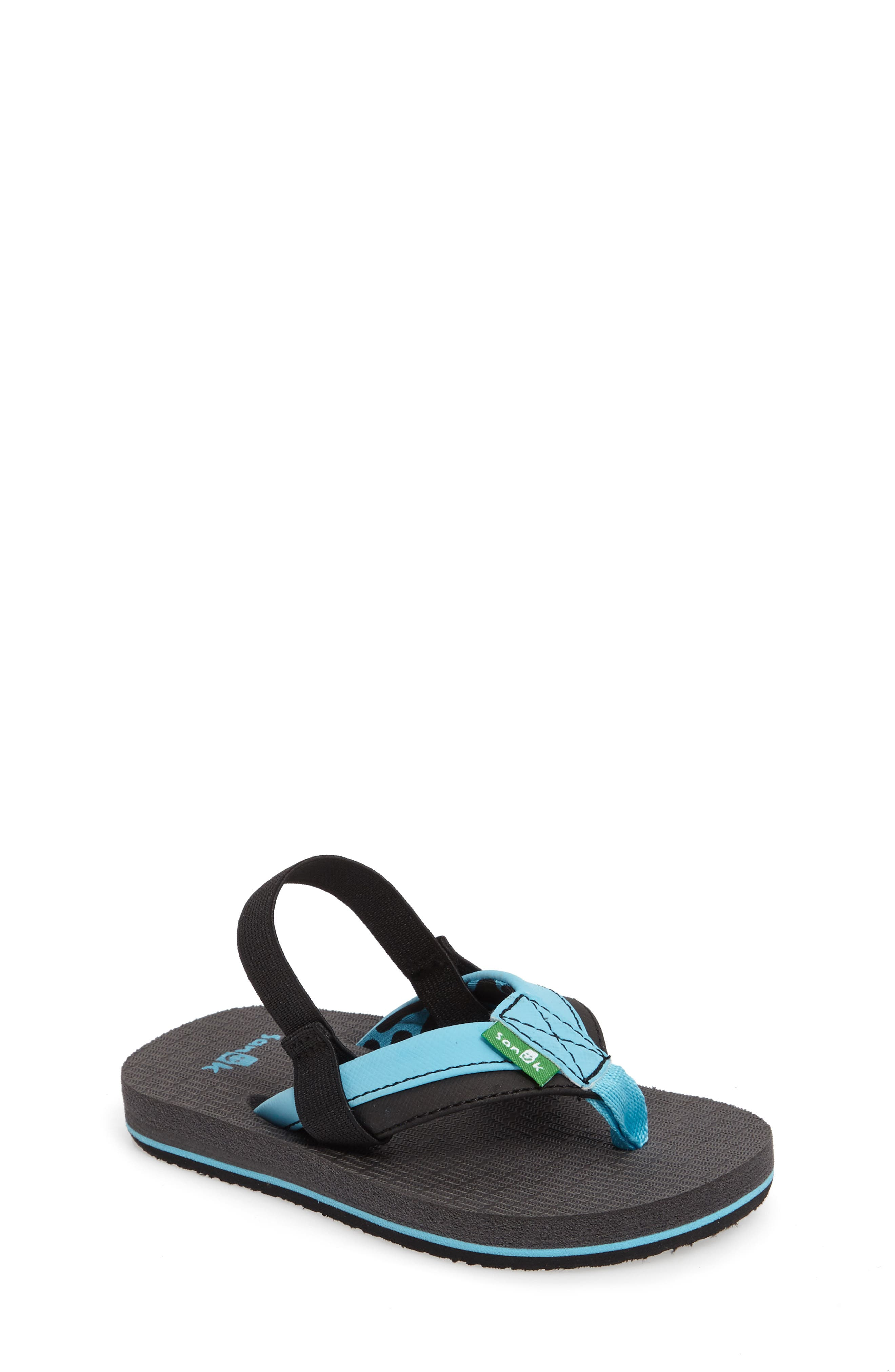 'Rootbeer Cozy' Lightweight Flip Flop Sandal,                             Main thumbnail 1, color,                             Aqua/ Black