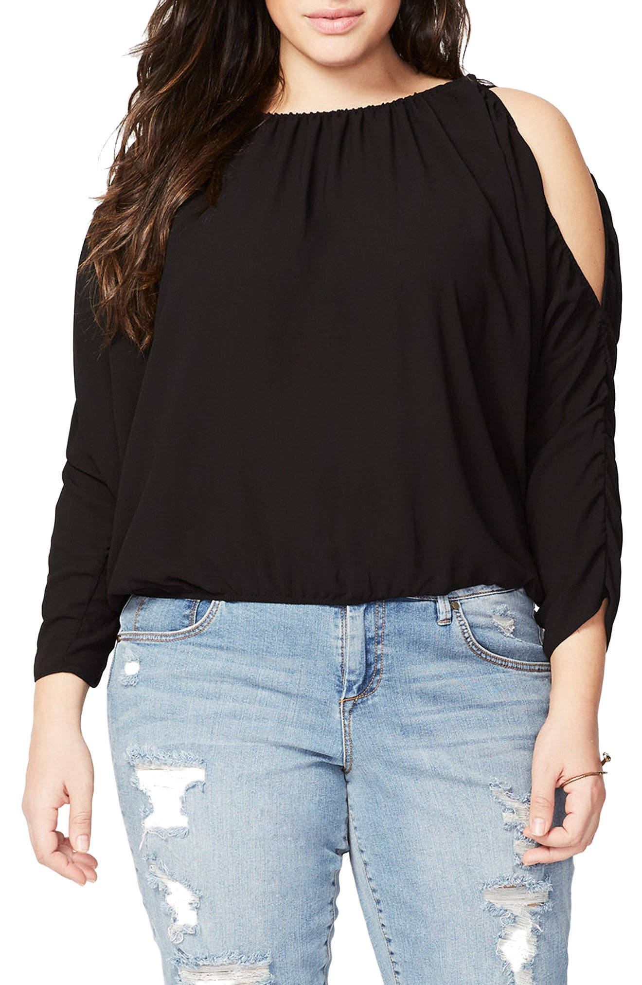 Rachel Roy Ruched Cold Shoulder Blouse,                             Main thumbnail 1, color,                             Black