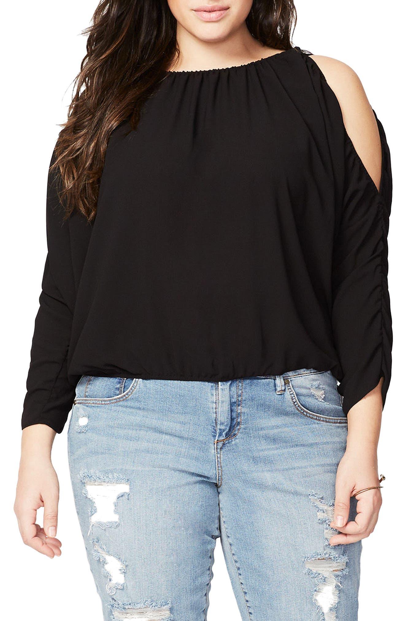 Rachel Roy Ruched Cold Shoulder Blouse,                         Main,                         color, Black