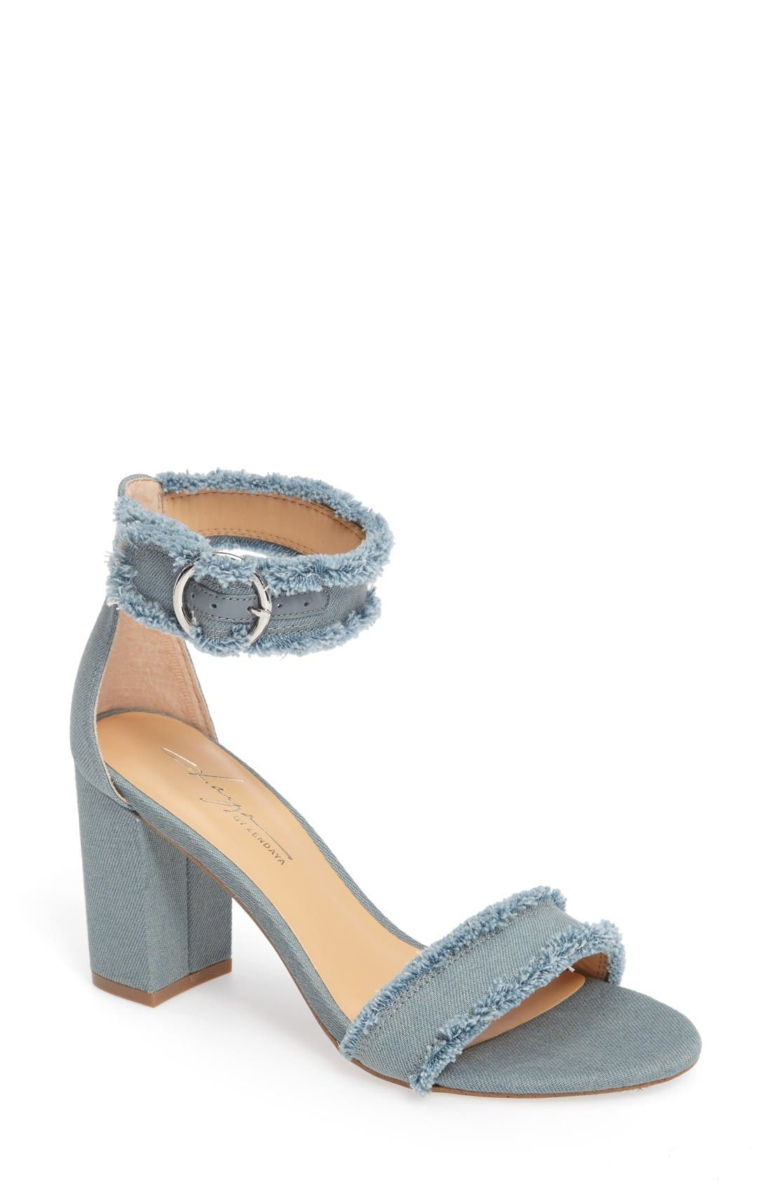 Alternate Image 1 Selected - Daya by Zendaya Shasta Fringe Denim Ankle Strap Sandal (Women)