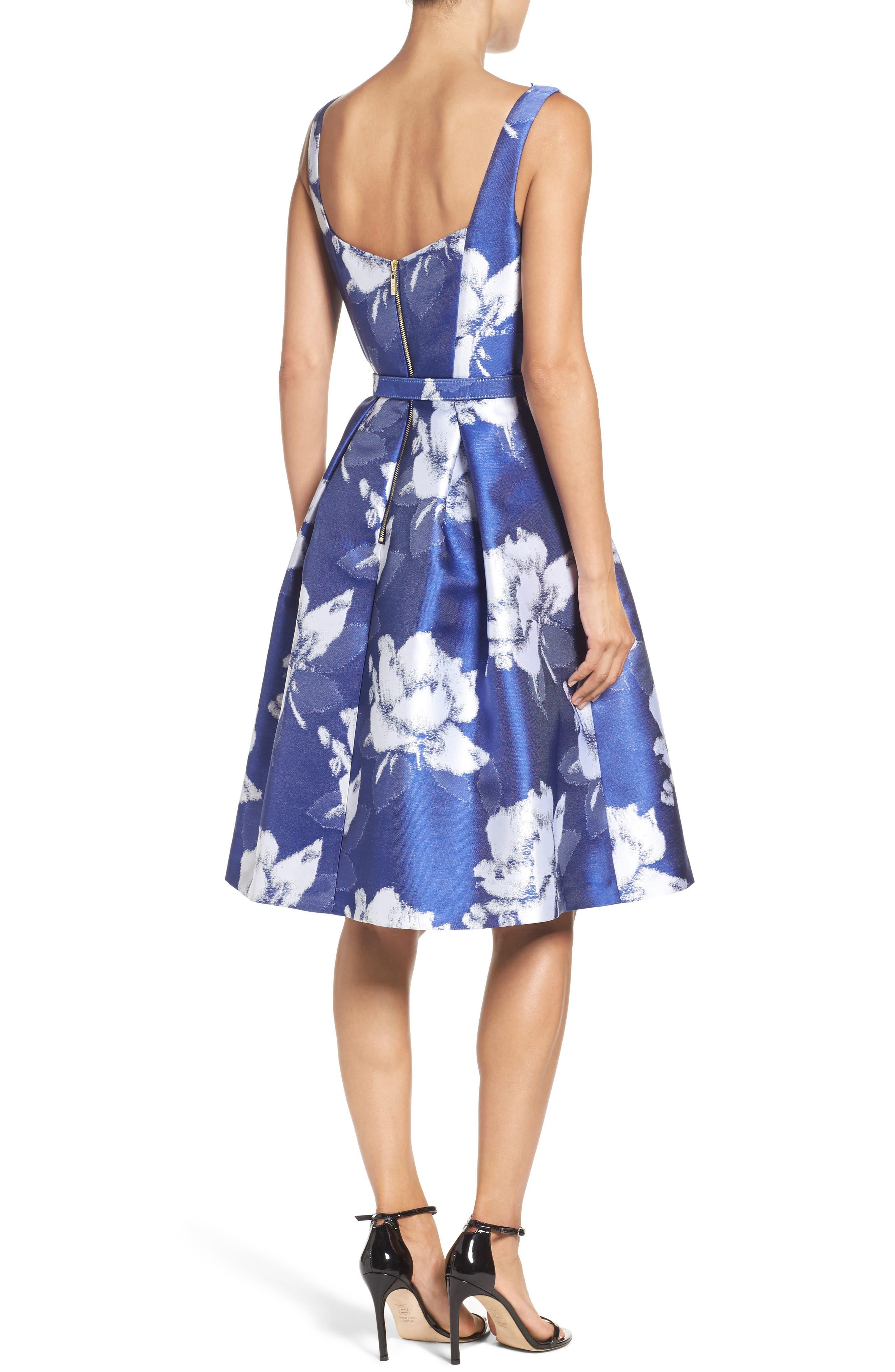 Alternate Image 2  - Eliza J Belted Floral Jacquard Dress