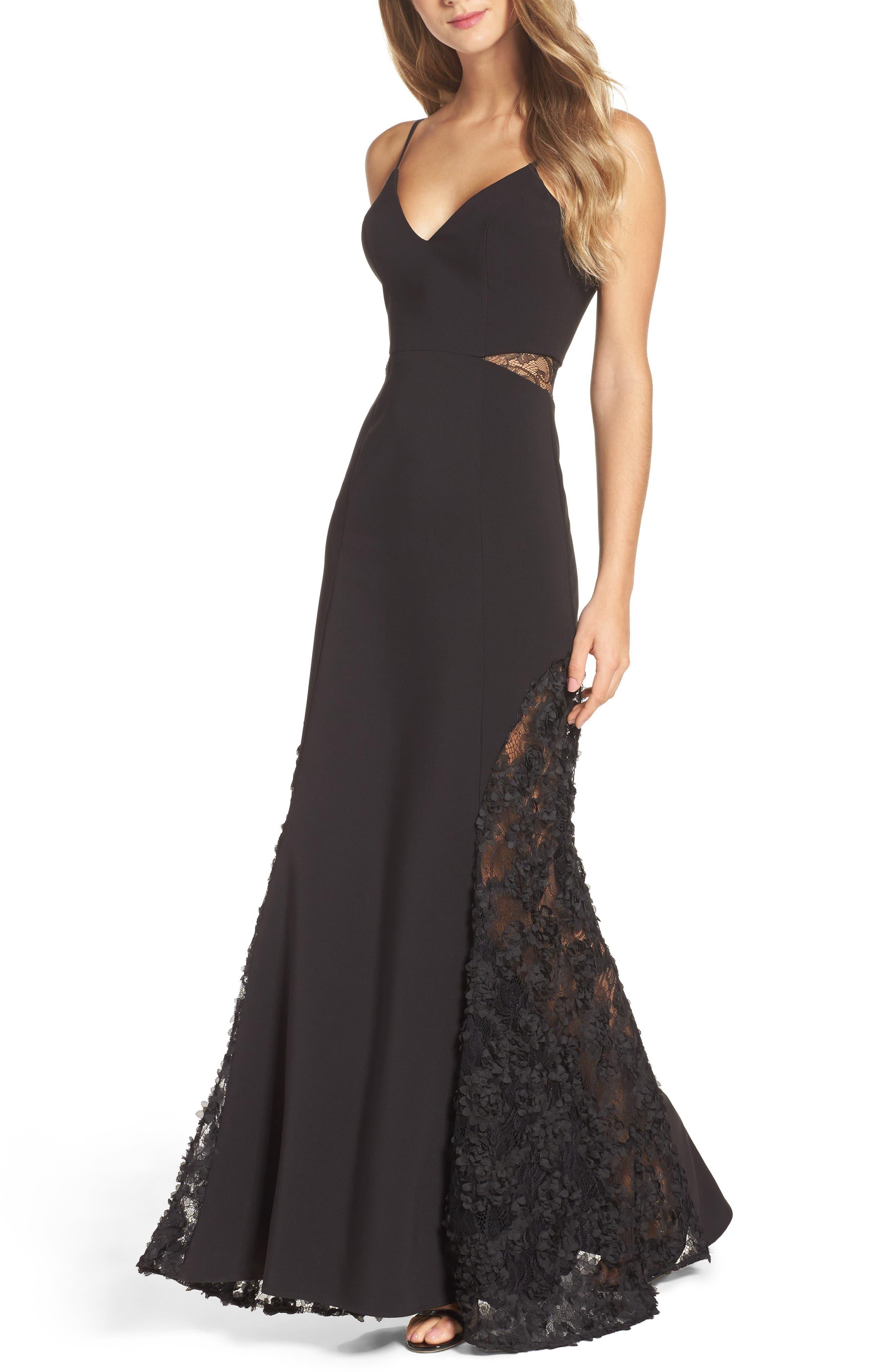 Shannon Lace Inset Gown,                             Alternate thumbnail 4, color,                             Black