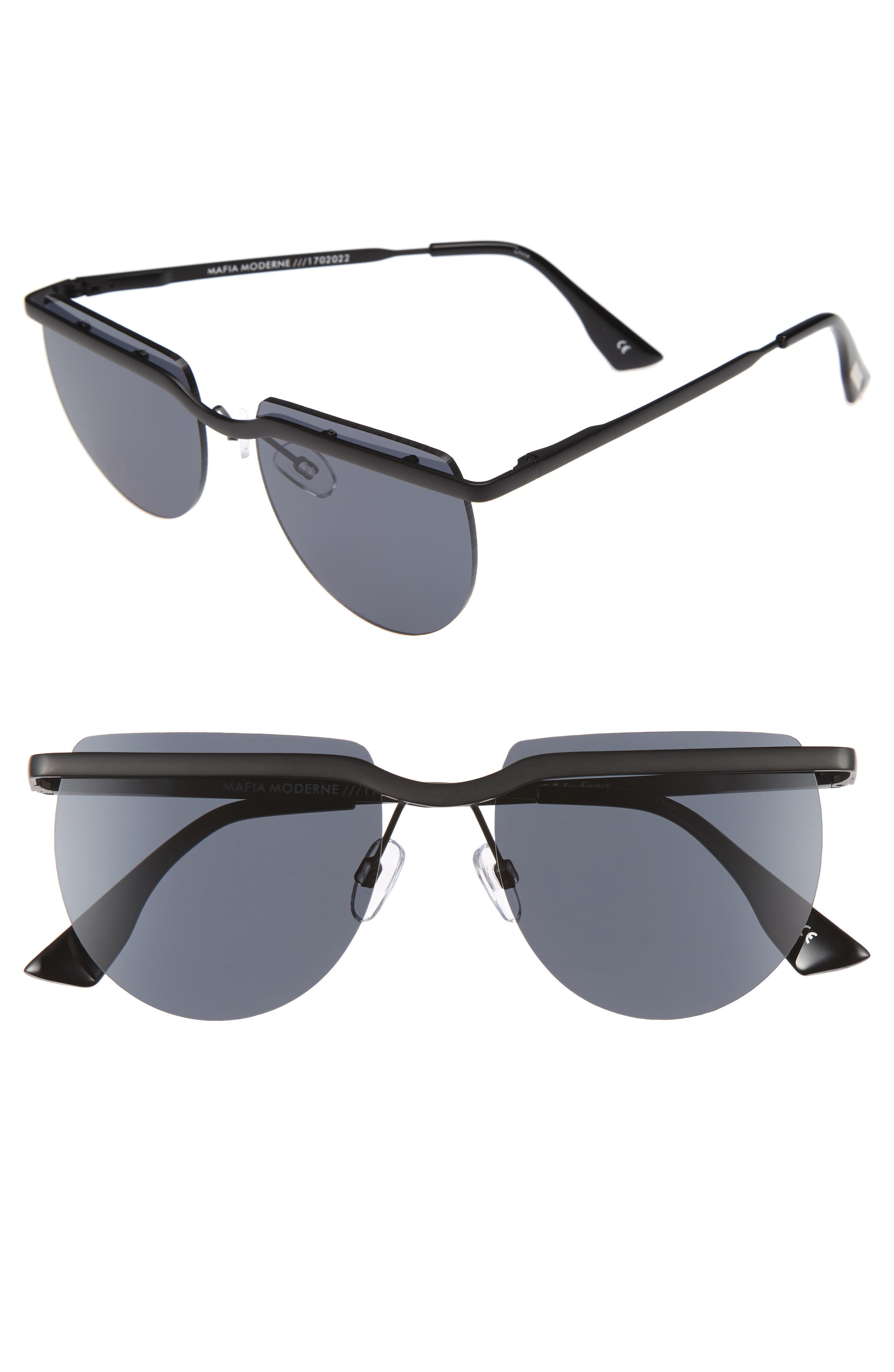 Mafia Moderne 52mm Rimless Sunglasses,                         Main,                         color, Matte Black