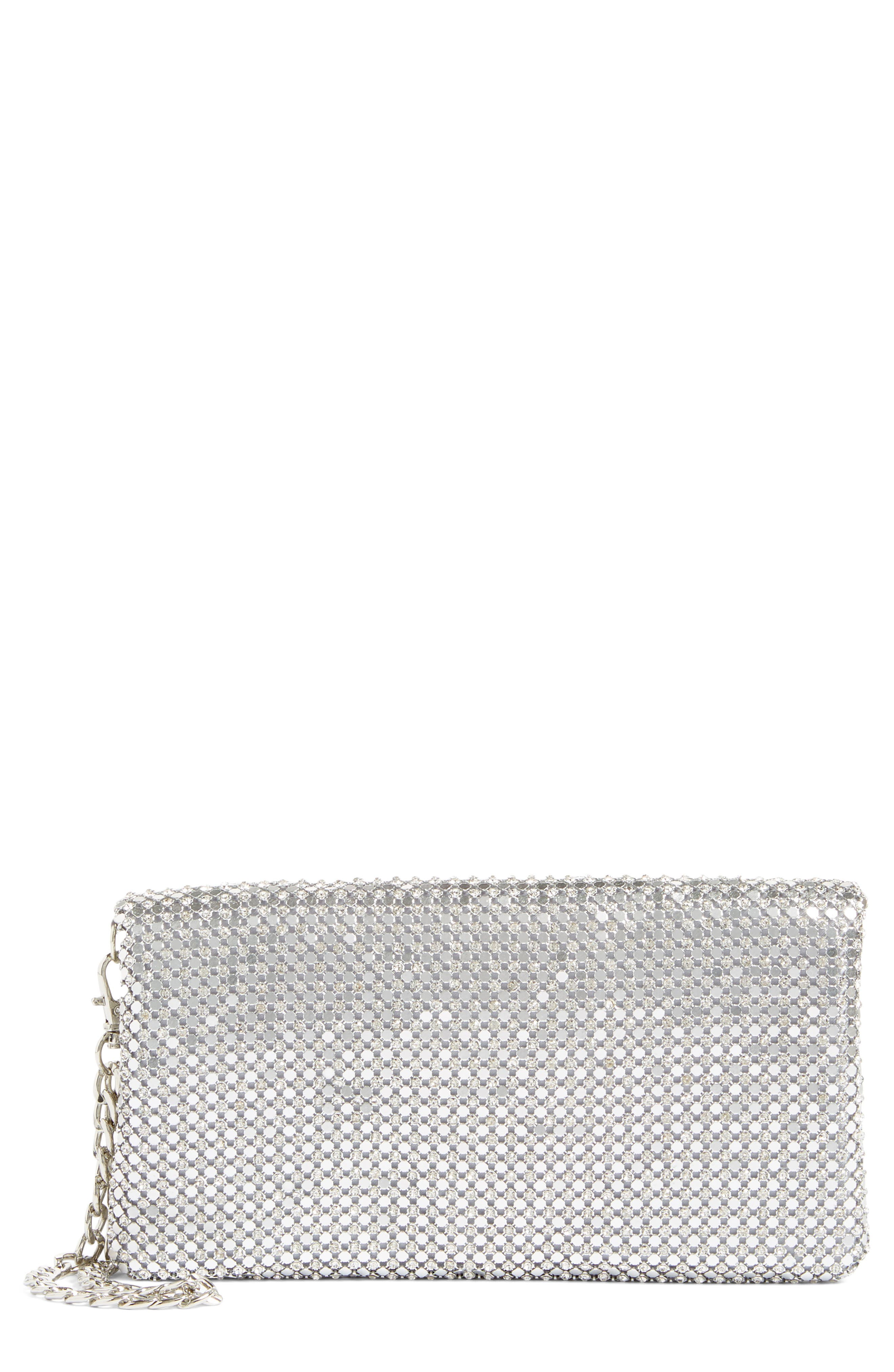 Crystal Mesh Foldover Clutch,                         Main,                         color, Silver