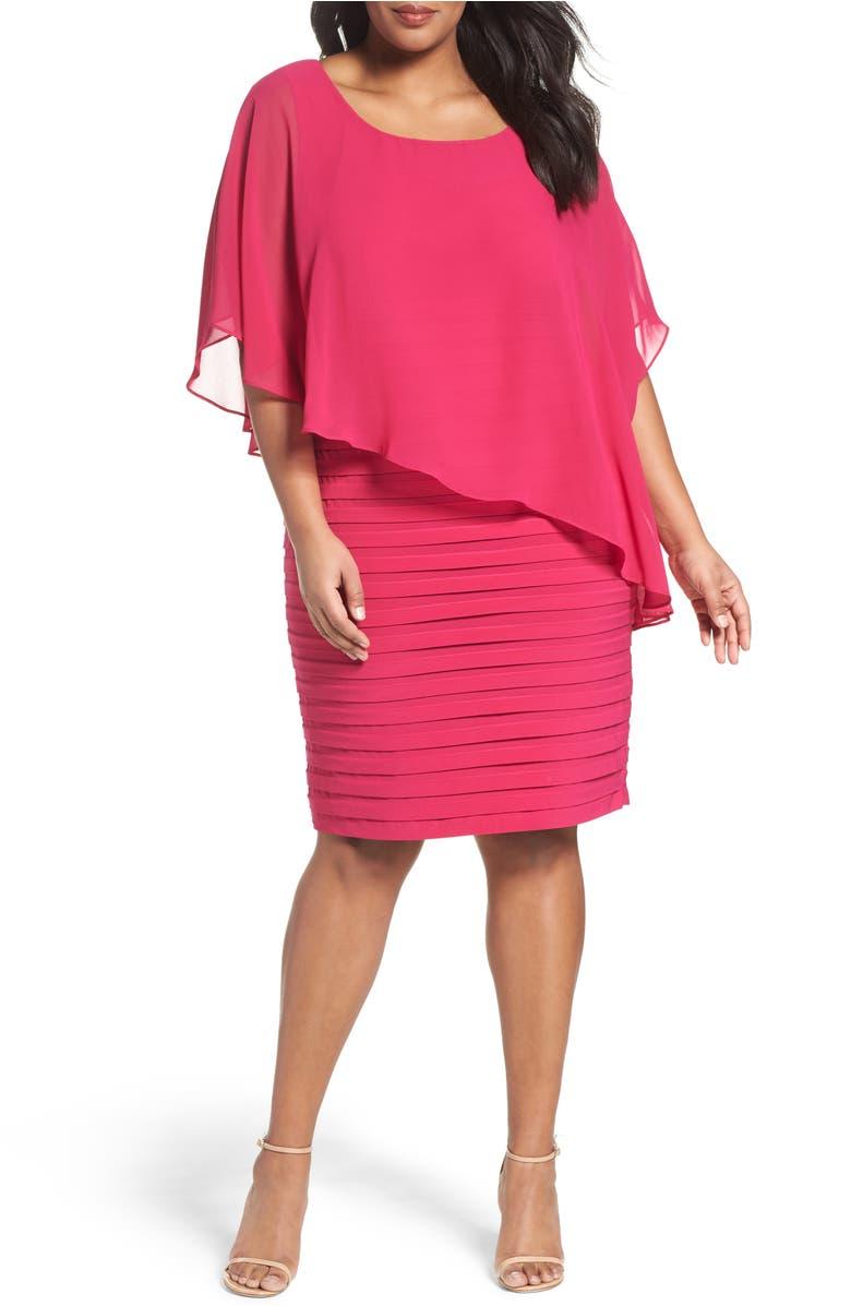 Chiffon Overlay Shutter Pleat Sheath Dress,                         Main,                         color, Fuchsia