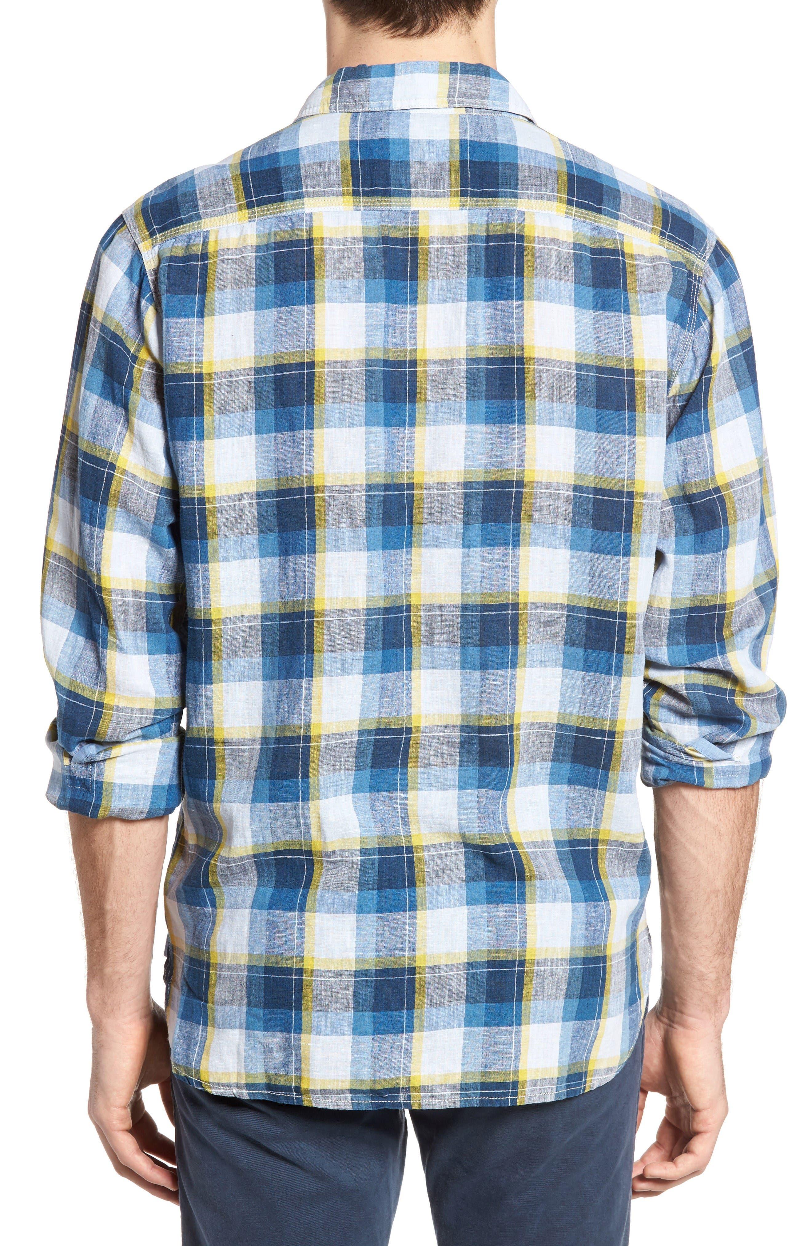 Plaid Sport Shirt,                             Alternate thumbnail 2, color,                             Denim