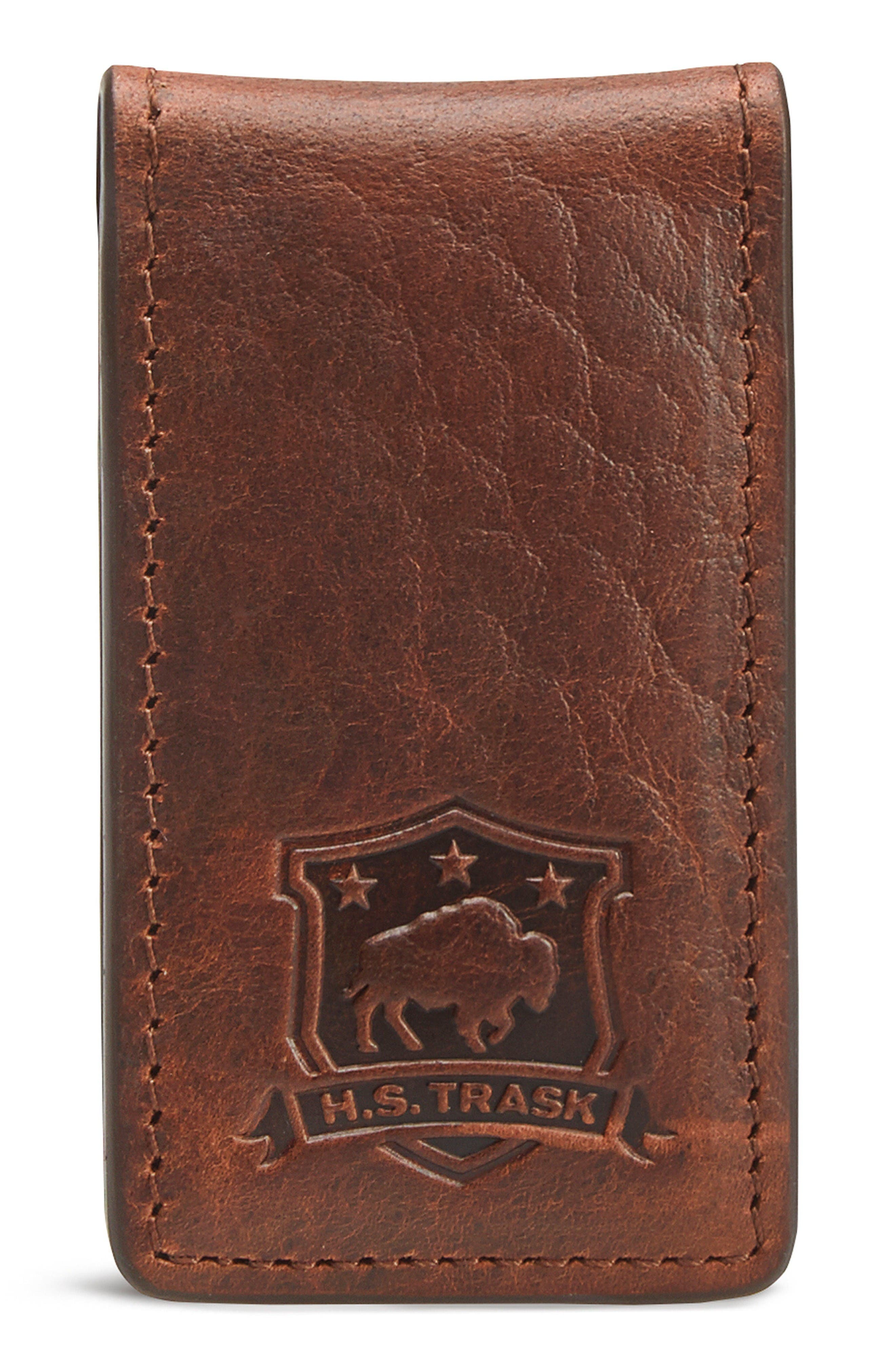 Leather Money Clip,                             Main thumbnail 1, color,                             Cognac