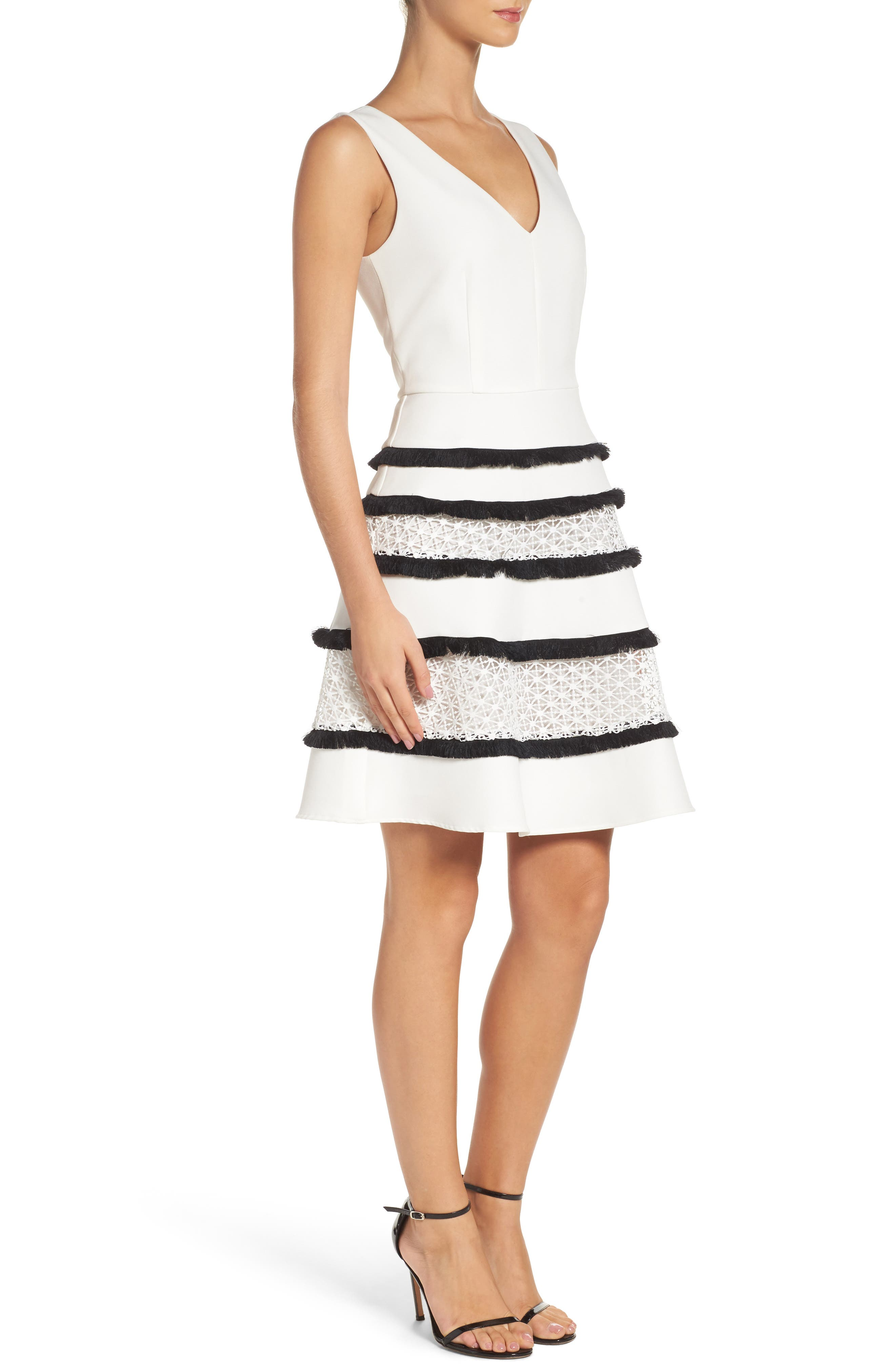 Stripe Fit & Flare Dress,                             Alternate thumbnail 3, color,                             White