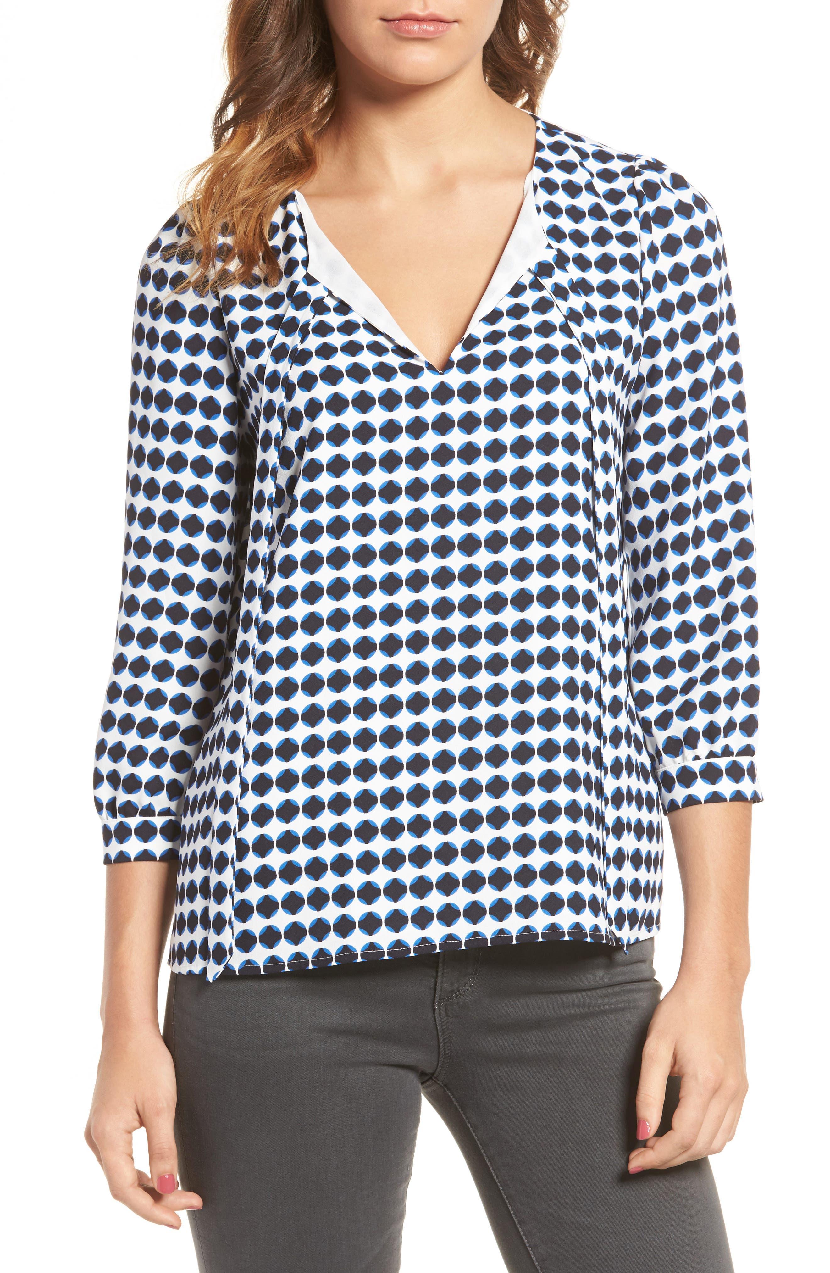 Valentine Tie Front Blouse,                         Main,                         color, Circle Dot Print