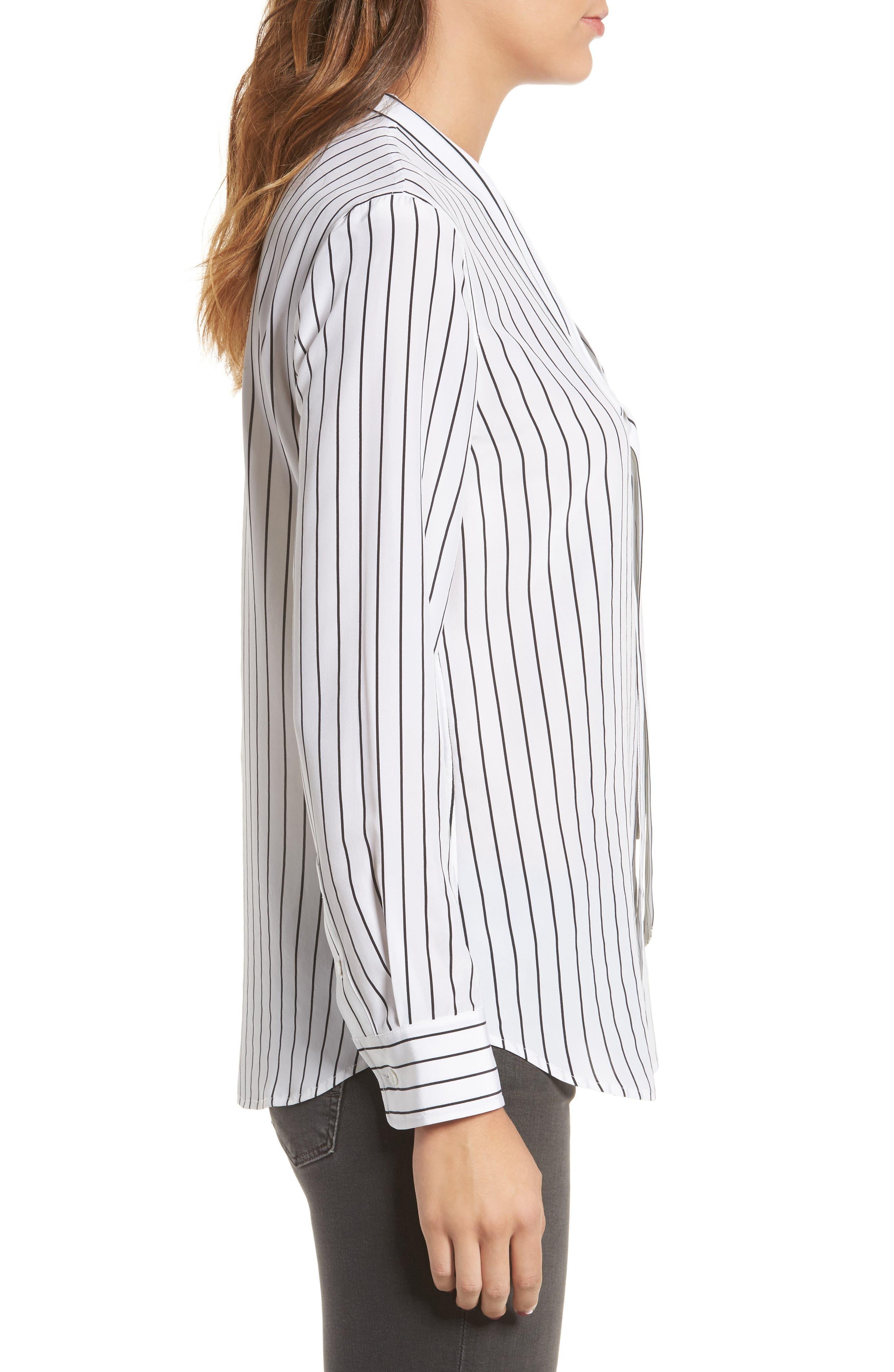 Claire Stripe Silk Shirt,                             Alternate thumbnail 3, color,                             True White / True Black Stripe