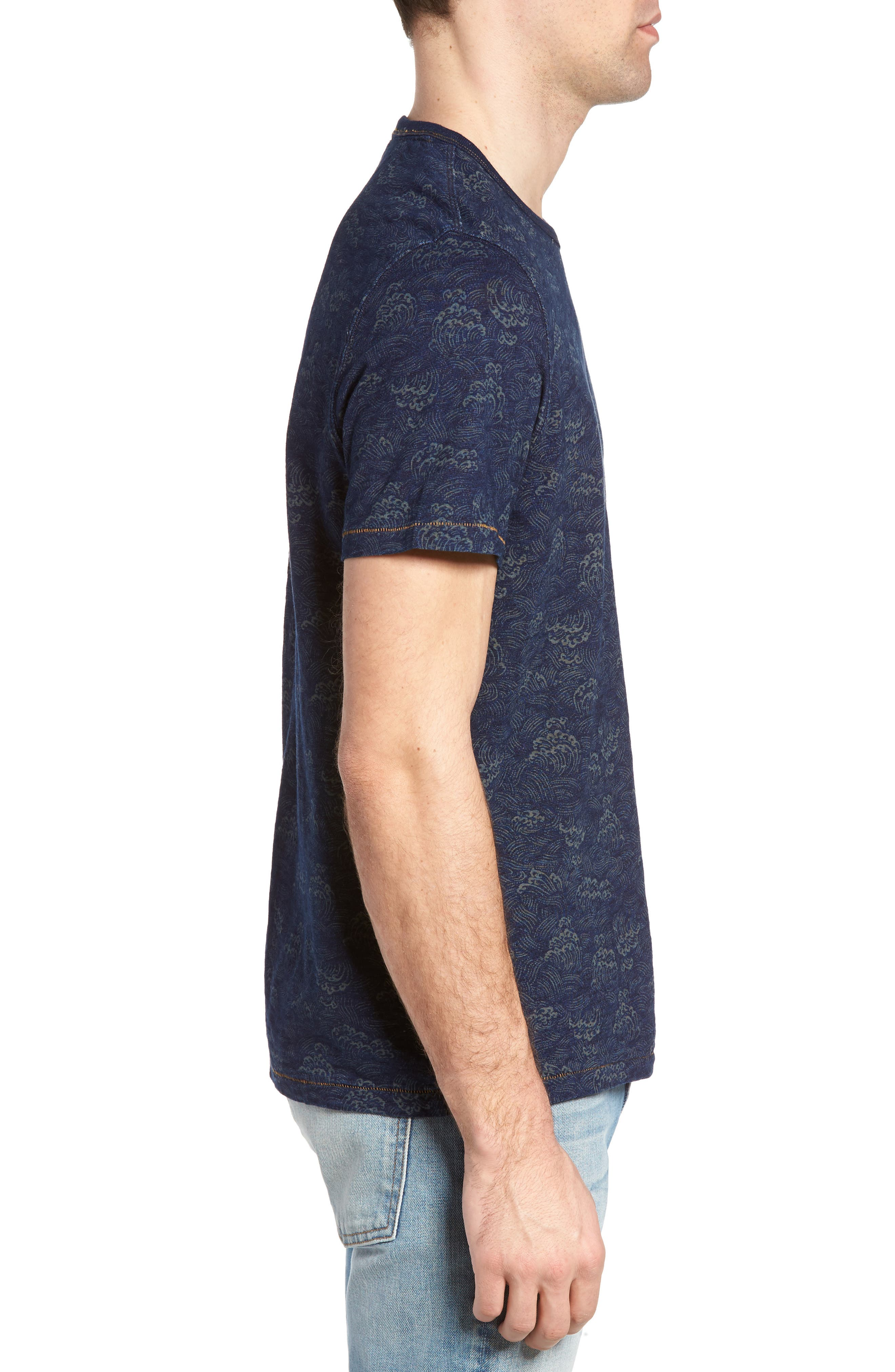 Swell Print Indigo Slub Jersey T-Shirt,                             Alternate thumbnail 3, color,                             Admiral