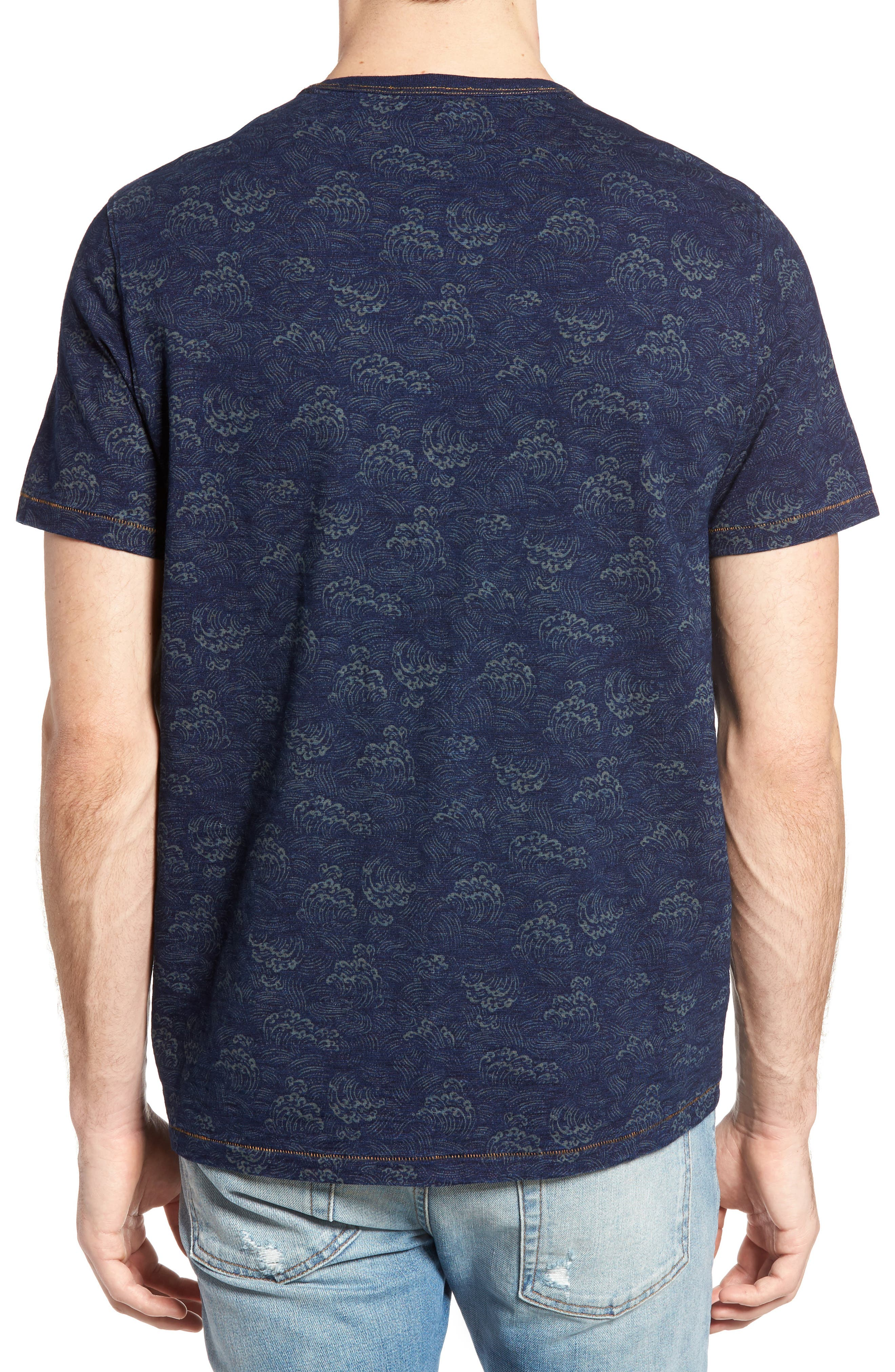 Swell Print Indigo Slub Jersey T-Shirt,                             Alternate thumbnail 2, color,                             Admiral