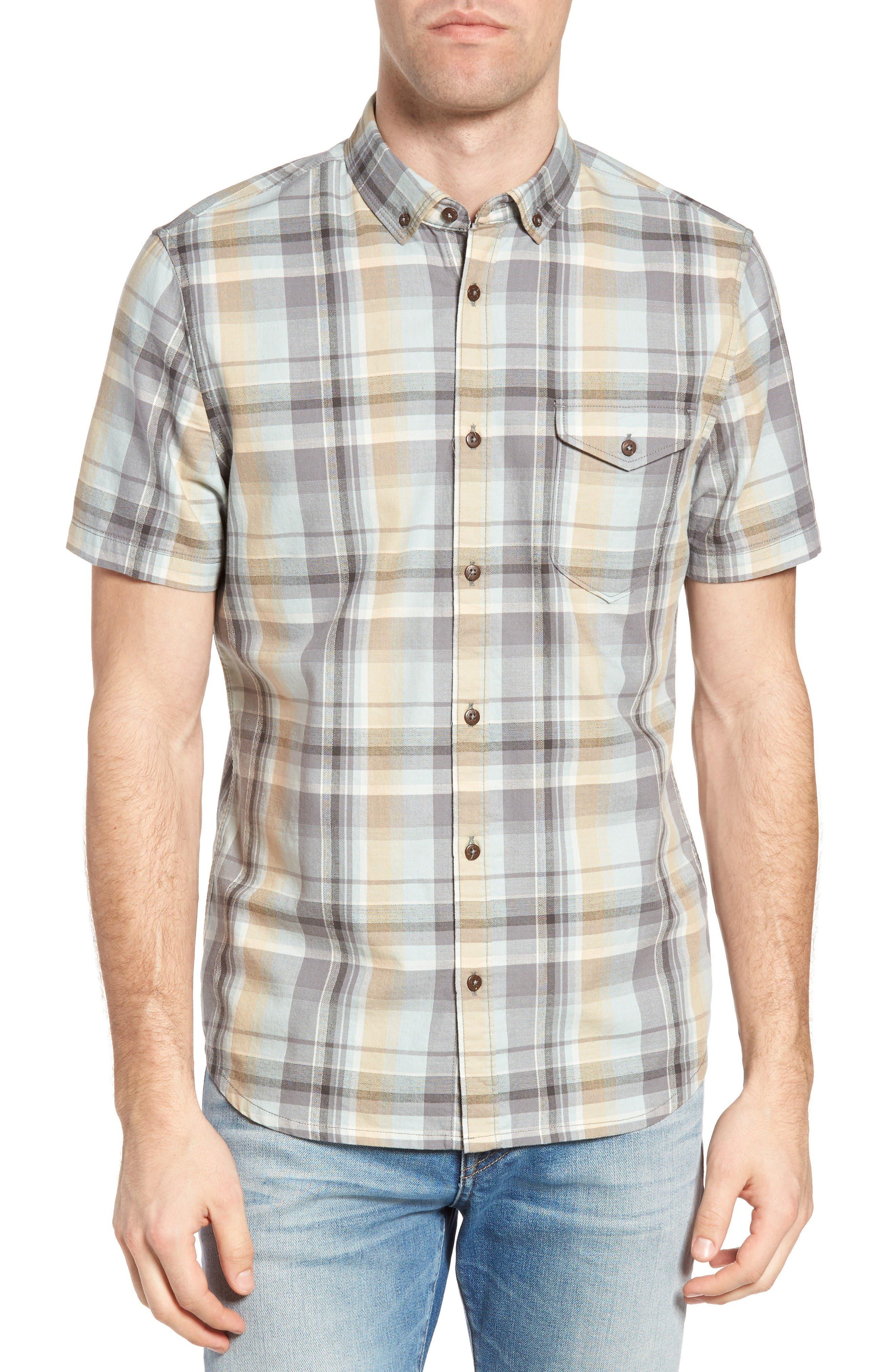 Jeremiah Cecil Regular Fit Herringbone Plaid Sport Shirt
