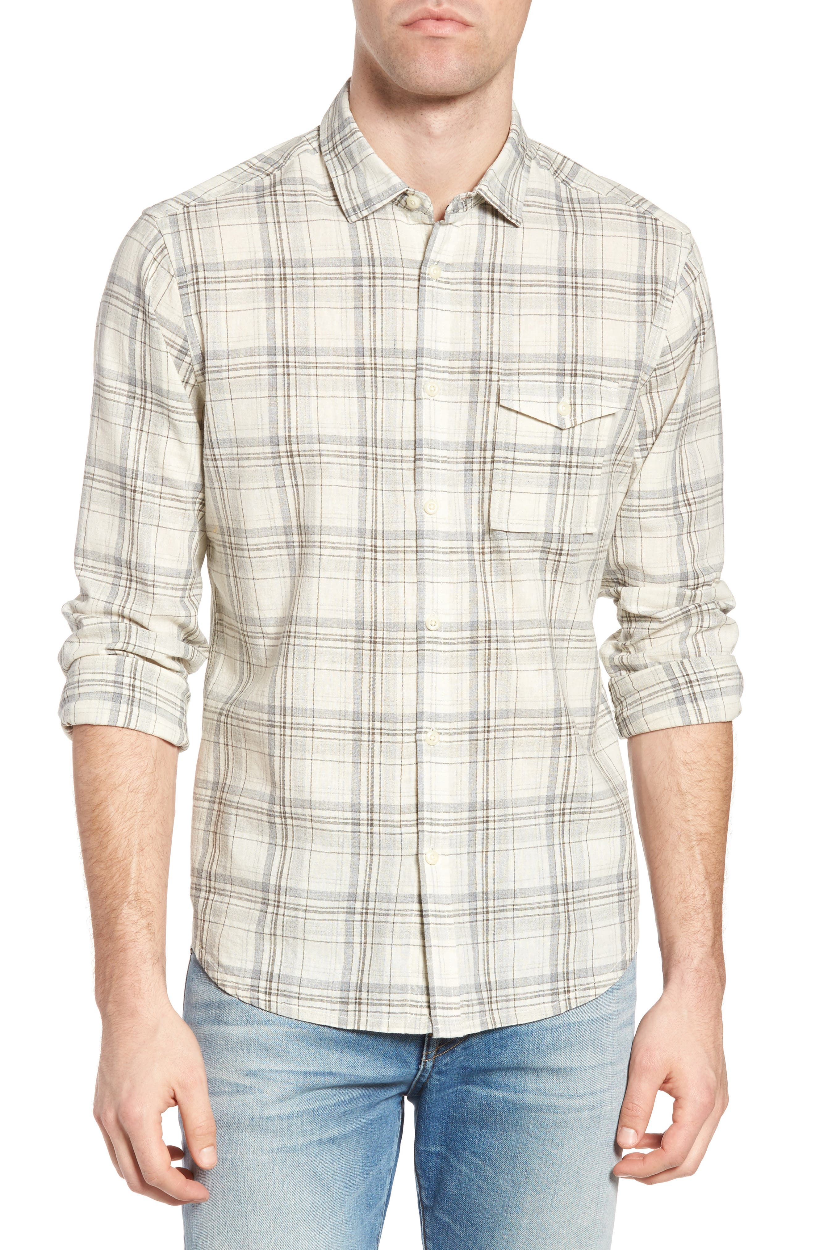 Jeremiah Henri Regular Fit Plaid Cotton & Linen Sport Shirt