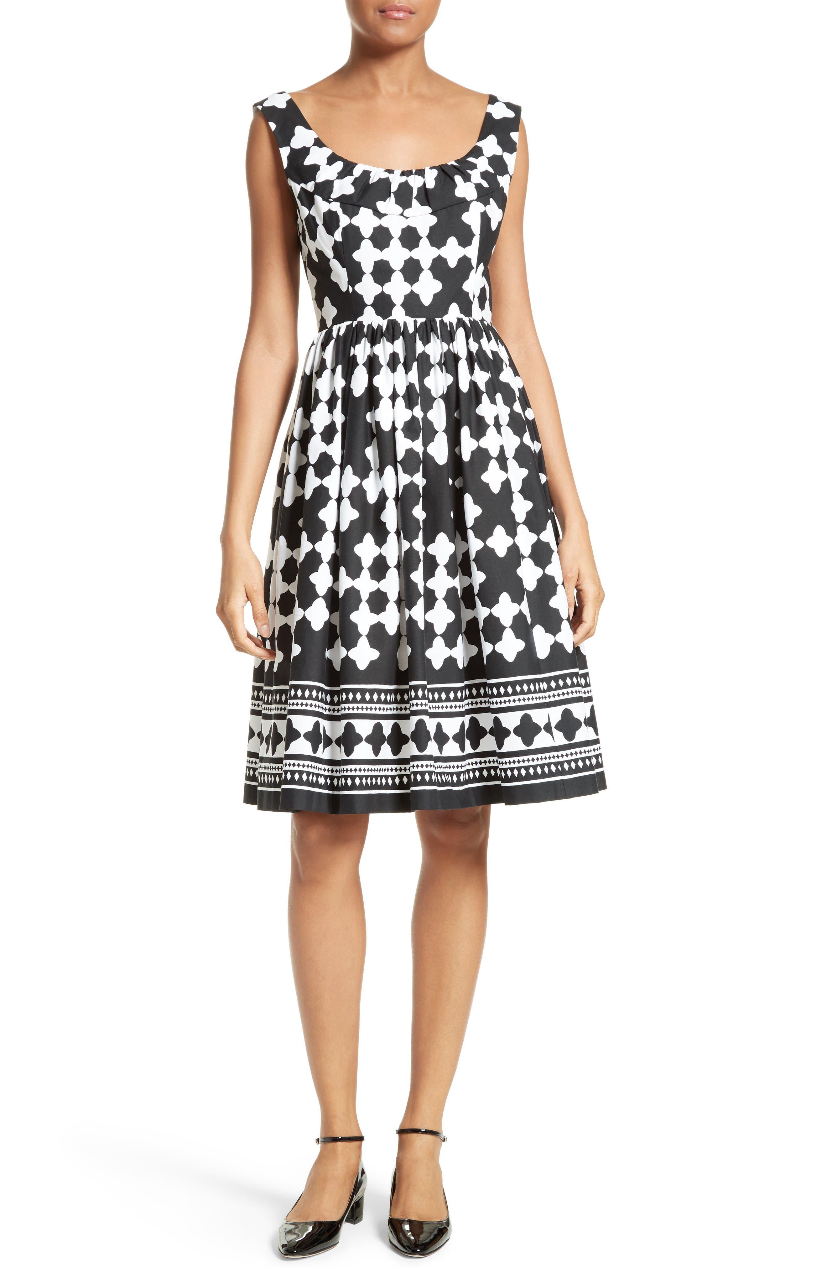 Main Image - kate spade new york lantern print scoop neck dress