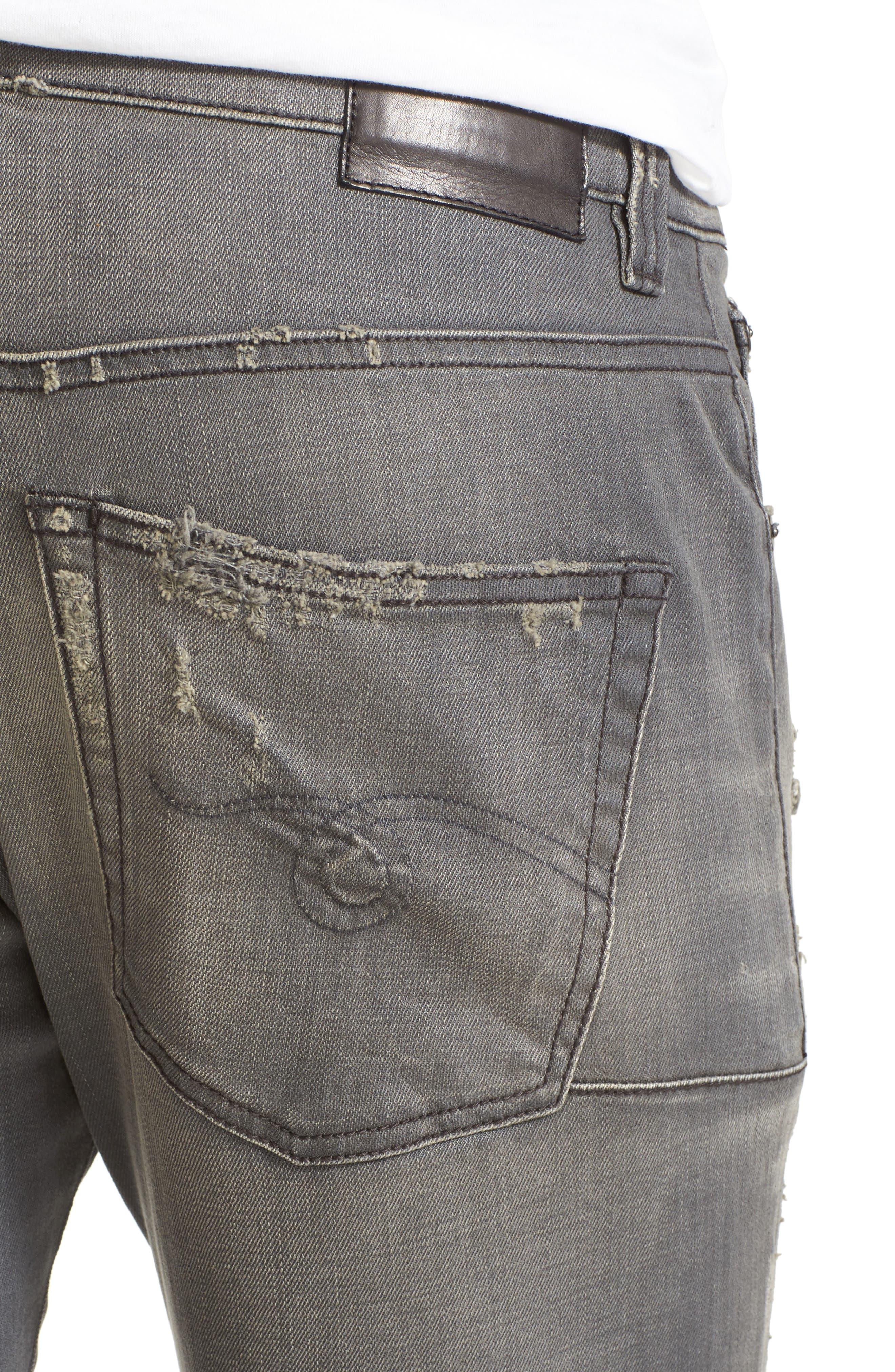 Skate Shredded Skinny Jeans,                             Alternate thumbnail 4, color,                             Grey