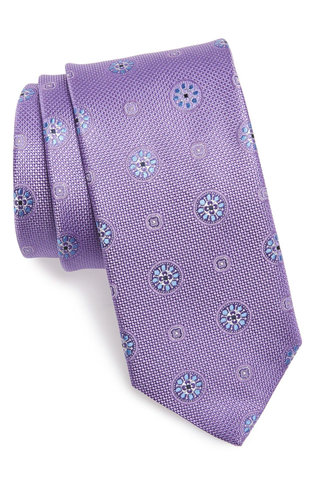 Medallion Silk Tie,                         Main,                         color, Lilac