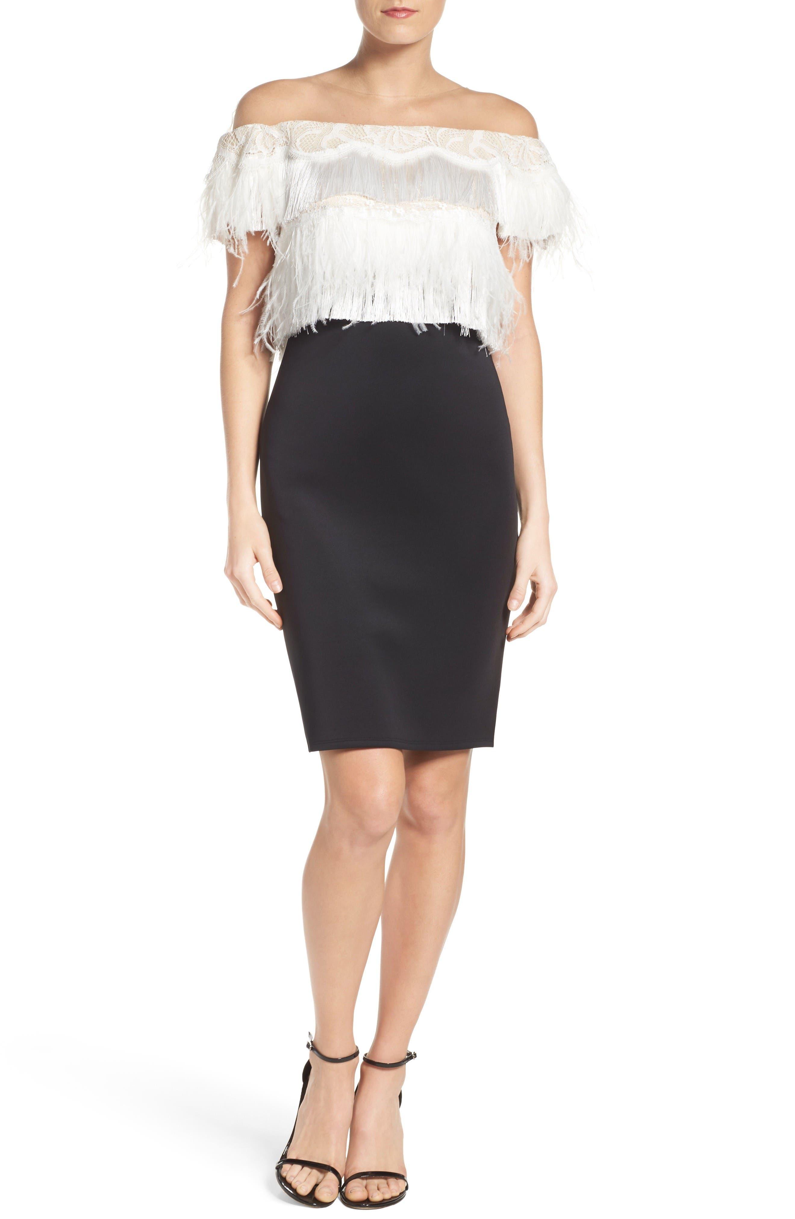 Off the Shoulder Sheath Dress,                             Alternate thumbnail 4, color,                             Black/ Ivory
