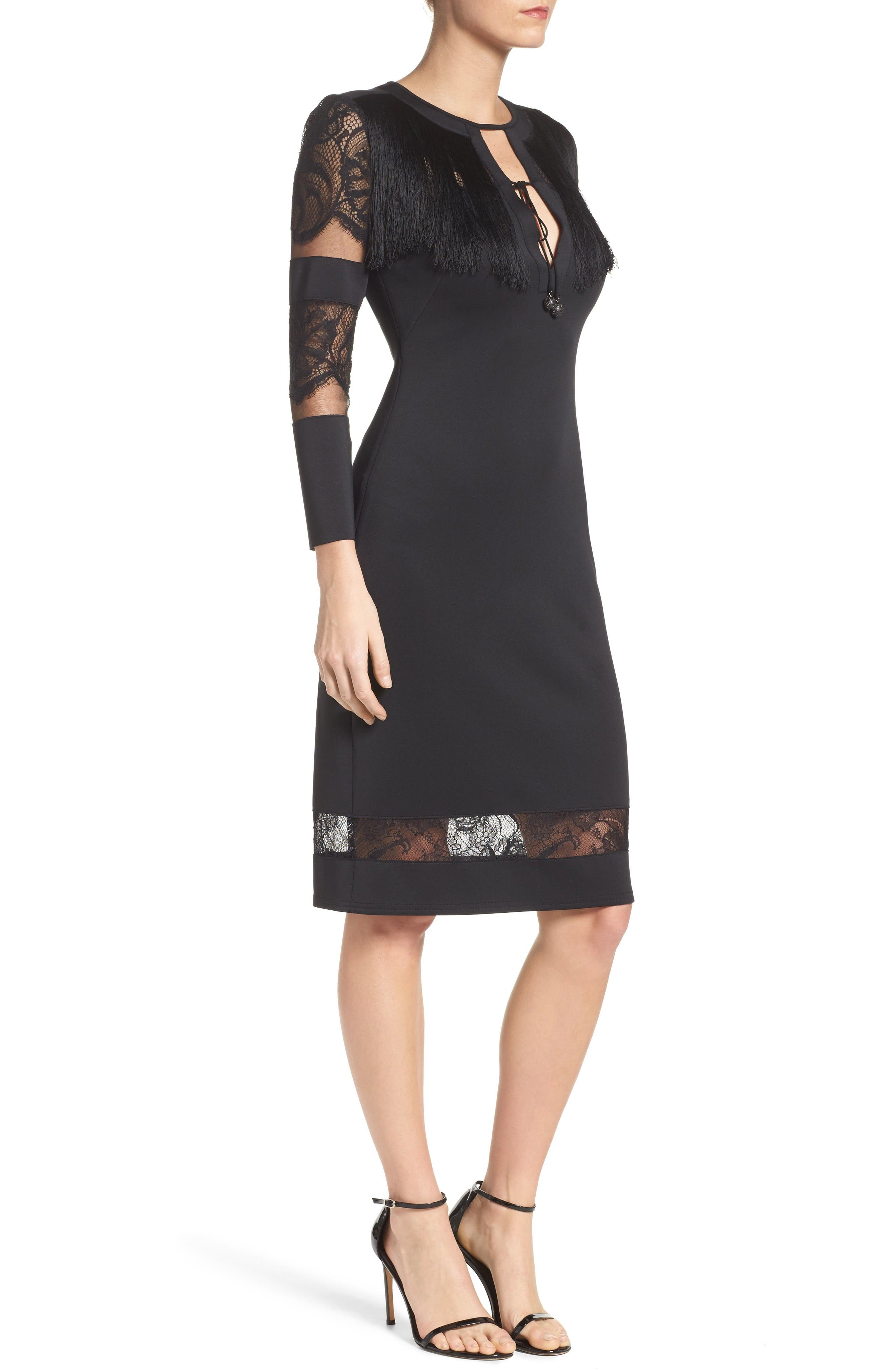 Fringe Sheath Dress,                             Alternate thumbnail 3, color,                             Black