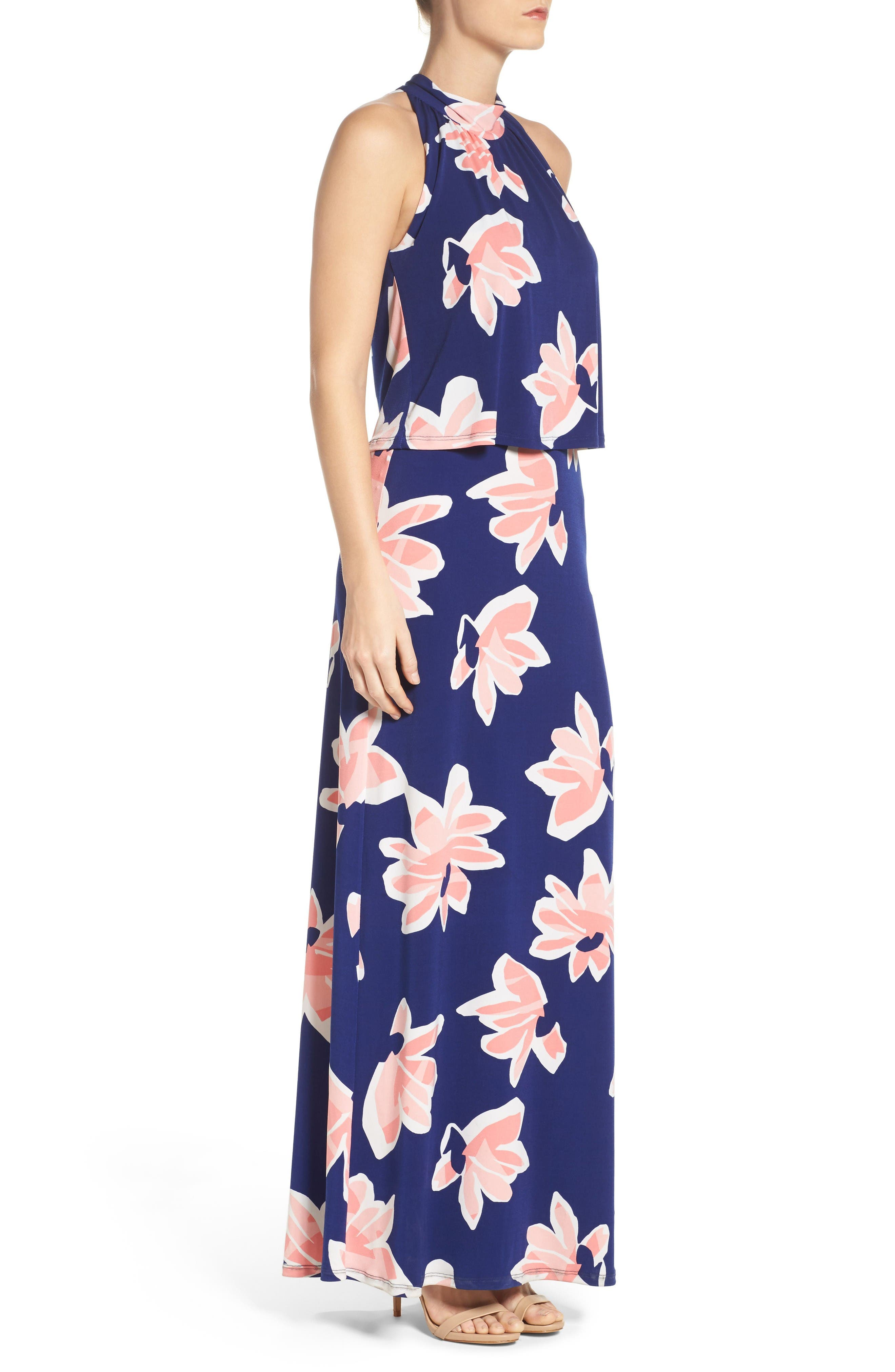 'Syler' Popover Jersey Maxi Dress,                             Alternate thumbnail 3, color,                             Waterlily