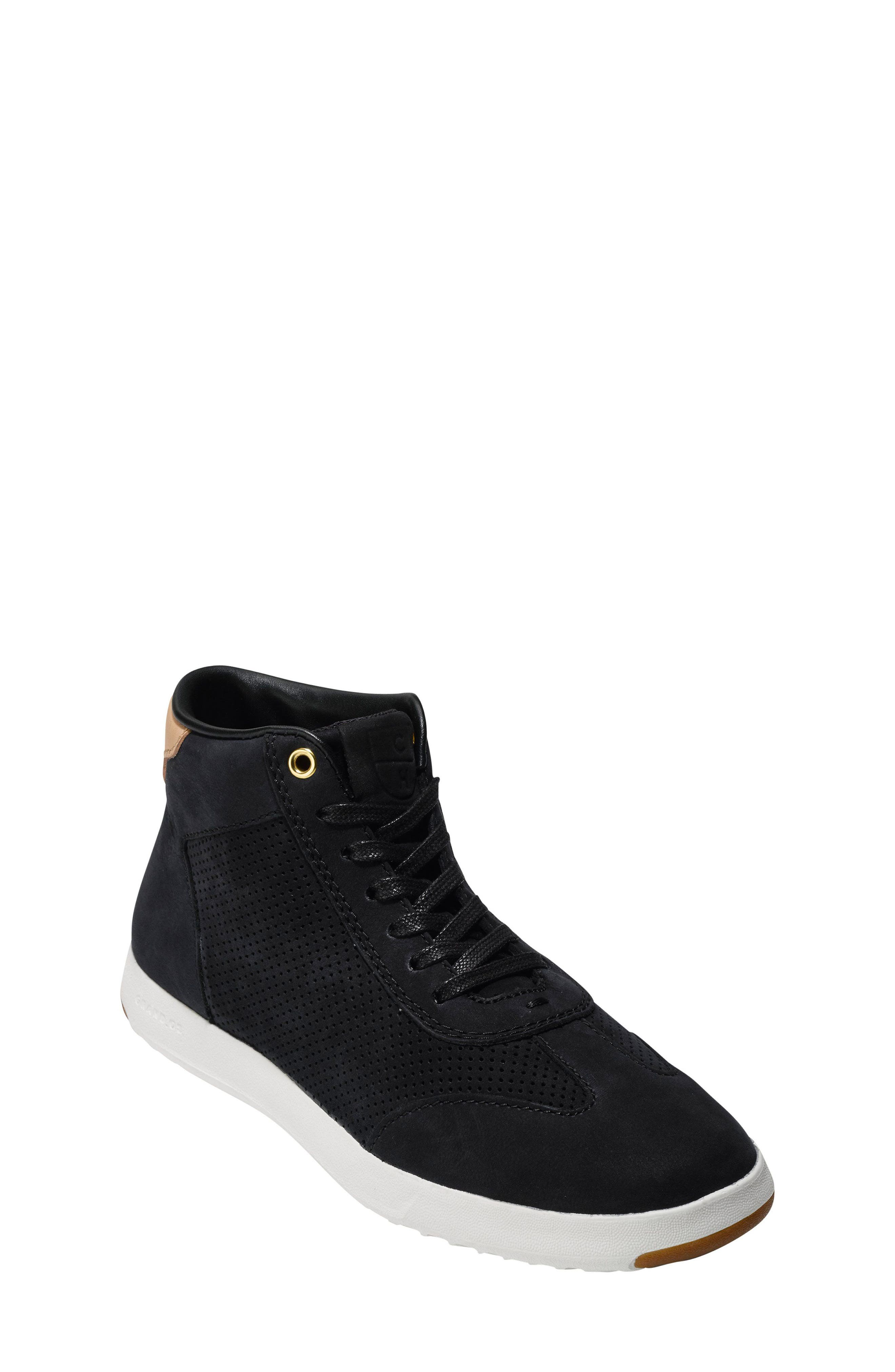 GrandPro High Top Sneaker,                         Main,                         color, Black Nubuck Leather