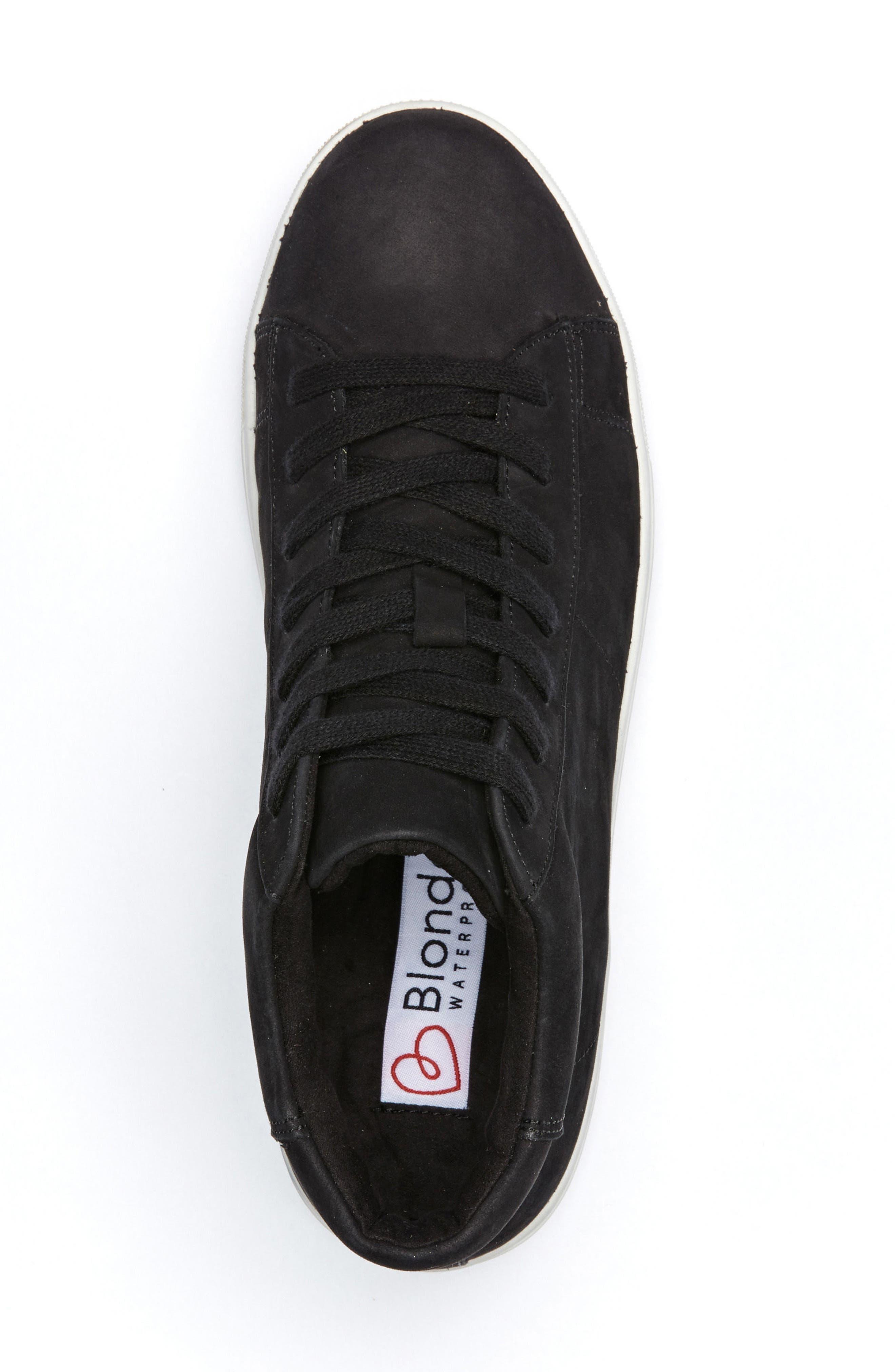 Jax Waterproof High Top Sneaker,                             Alternate thumbnail 3, color,                             Black Suede