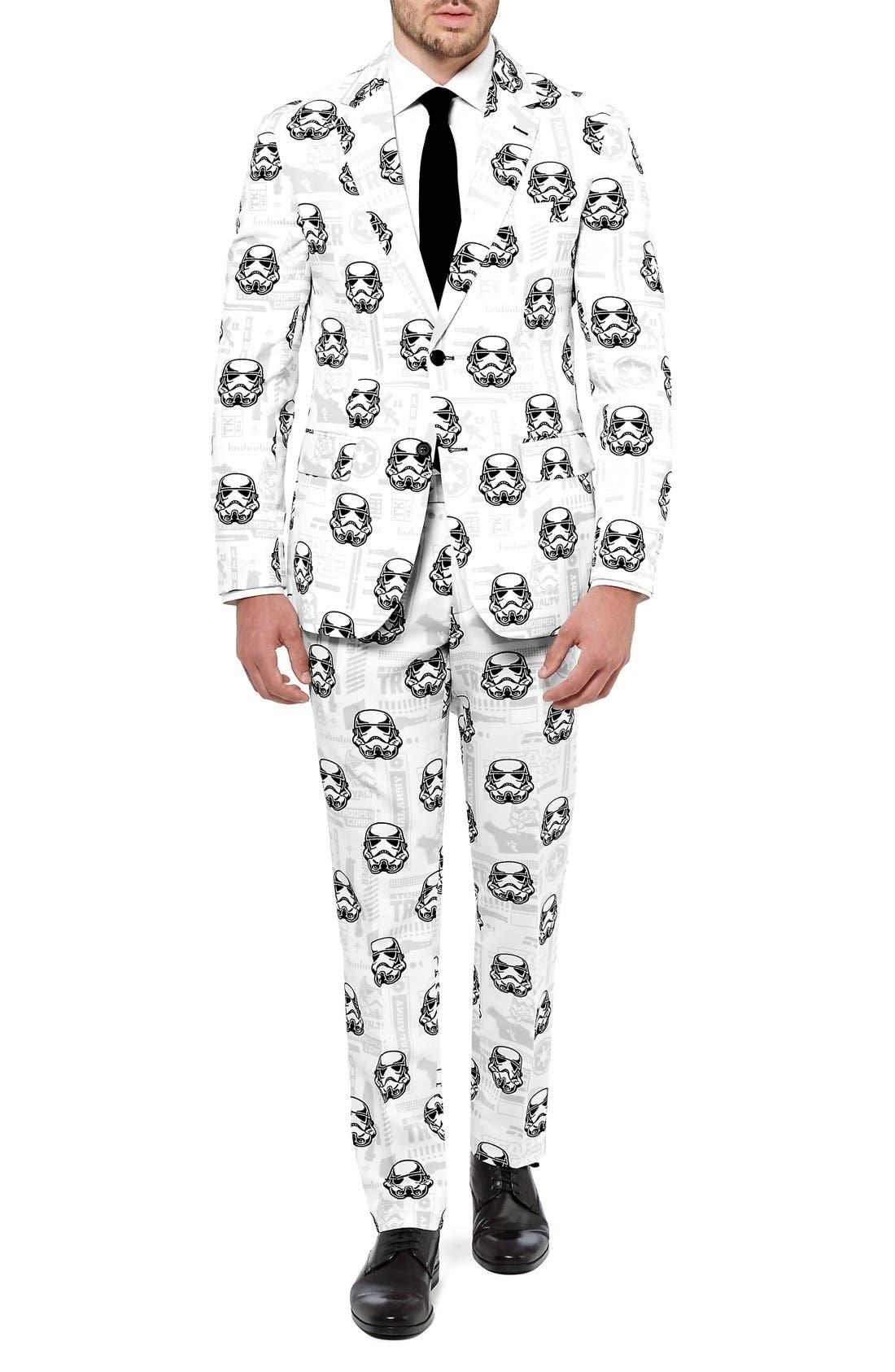 Stormtrooper Trim Fit Two-Piece Suit with Tie,                             Main thumbnail 1, color,                             White/ Multi