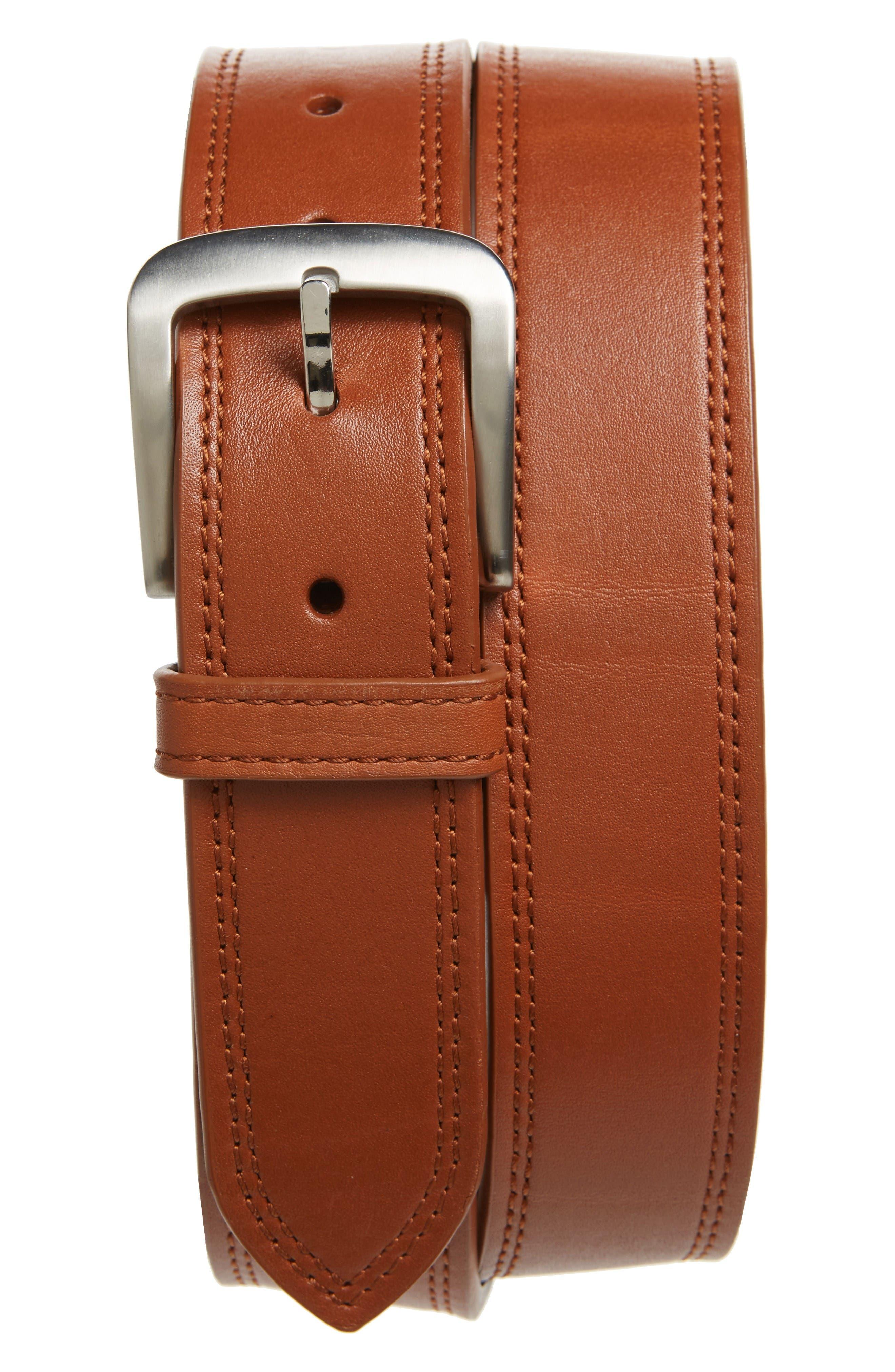 Alternate Image 1 Selected - Shinola Double Stitch Leather Belt