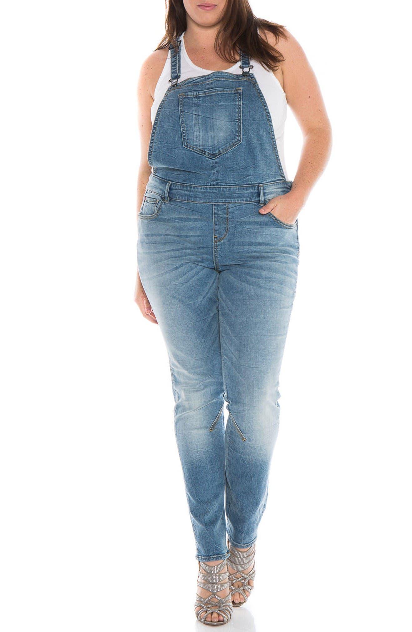 Alternate Image 1 Selected - SLINK Jeans Racerback Overalls (Anna) (Plus Size)
