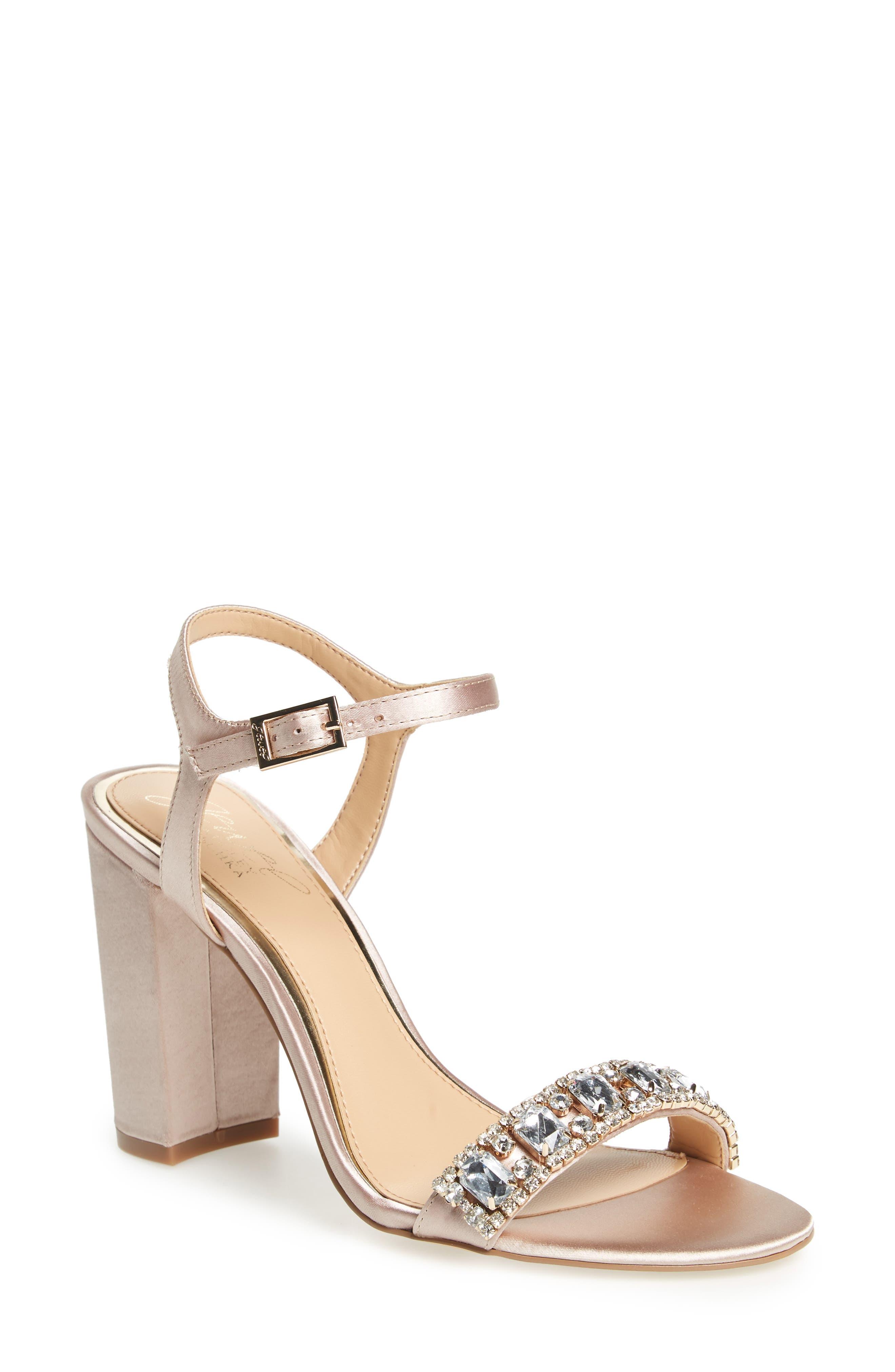 Jewel Badgley Mischka Hendricks Embellished Block Heel Sandal (Women)