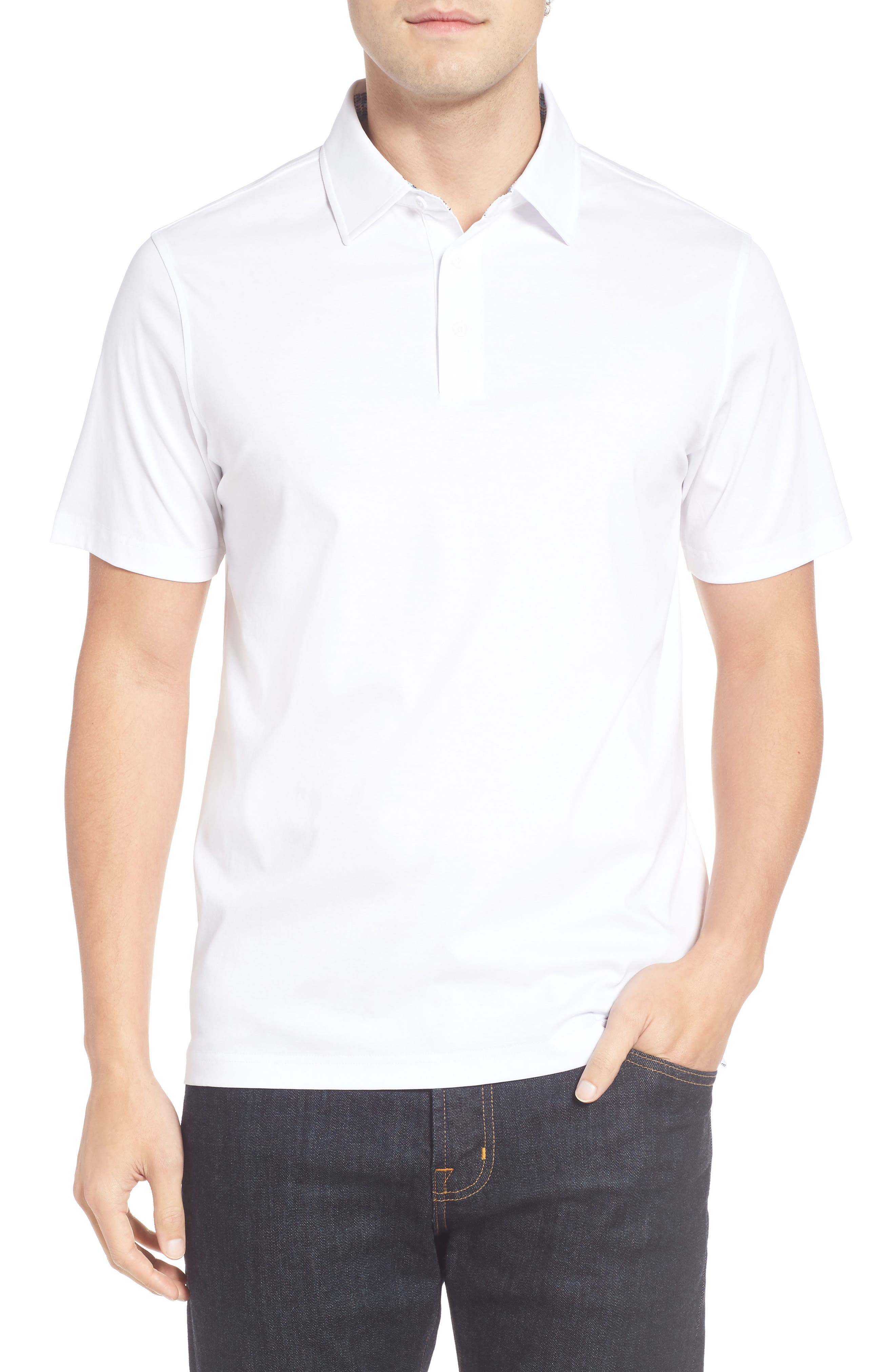Jersey Polo,                             Main thumbnail 1, color,                             White