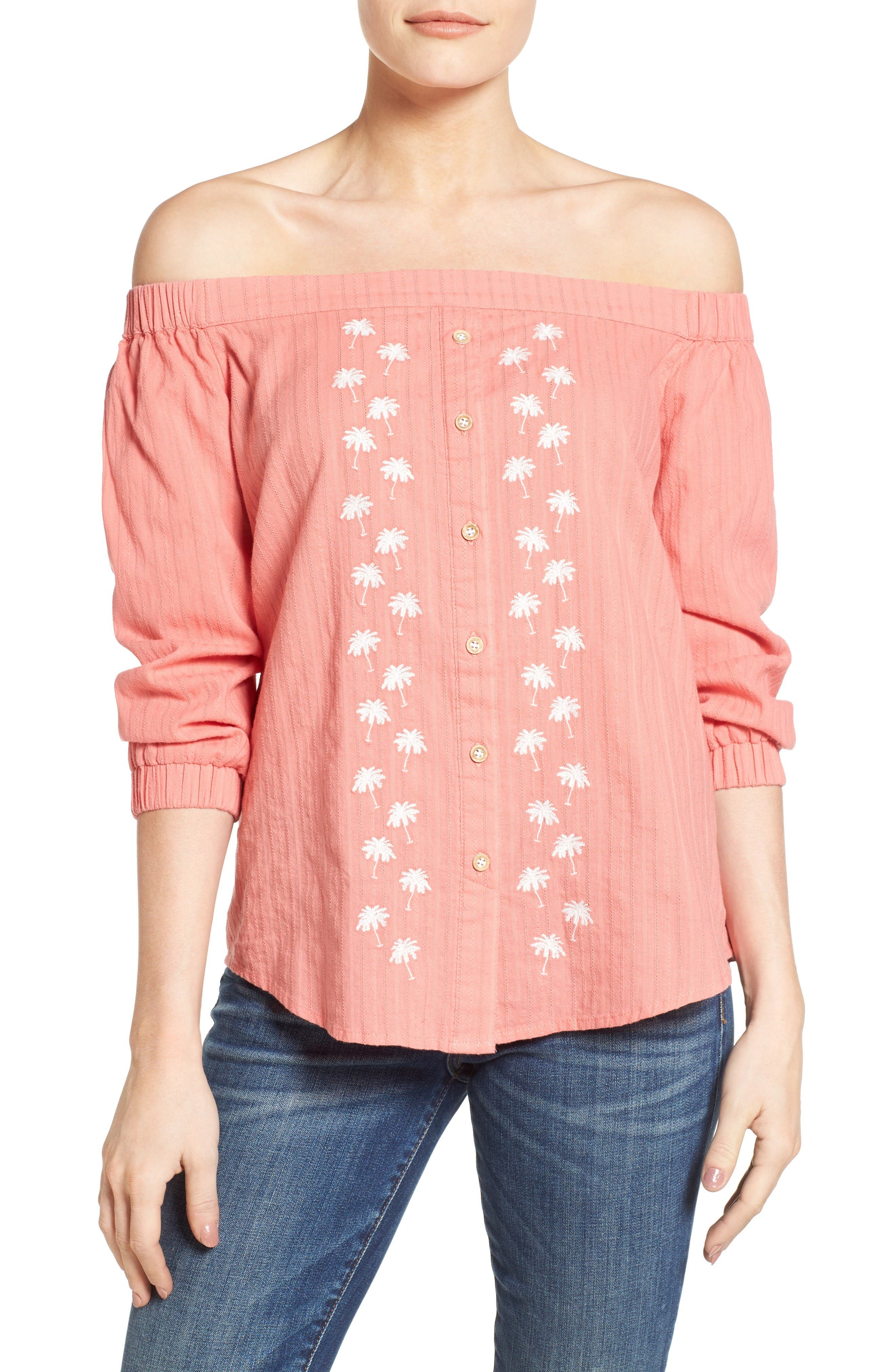 Wit & Wisdom Embroidered Cotton Off the Shoulder Top (Nordstrom Exclusive)