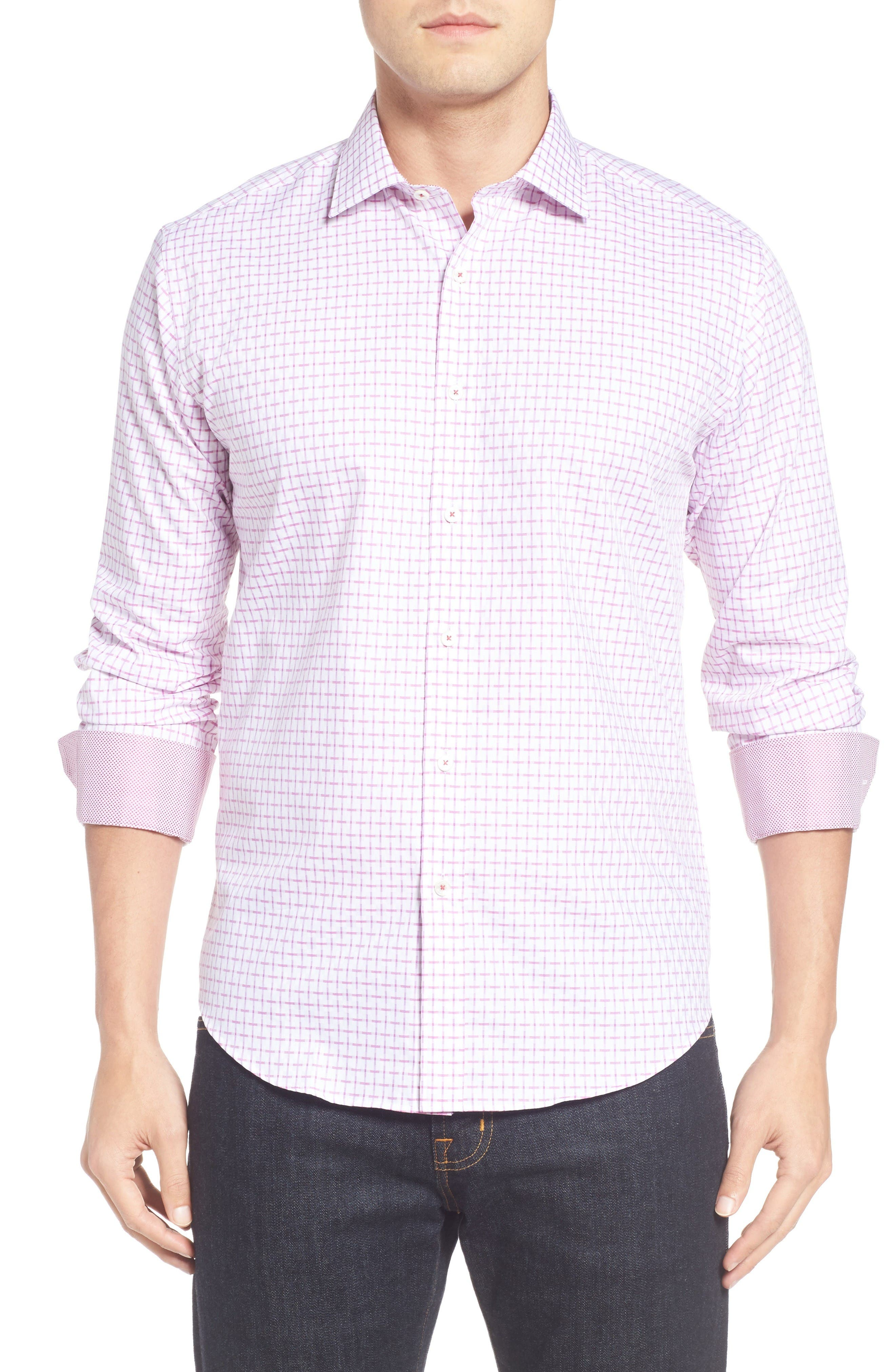 Shaped Fit Sport Shirt,                         Main,                         color, Plum