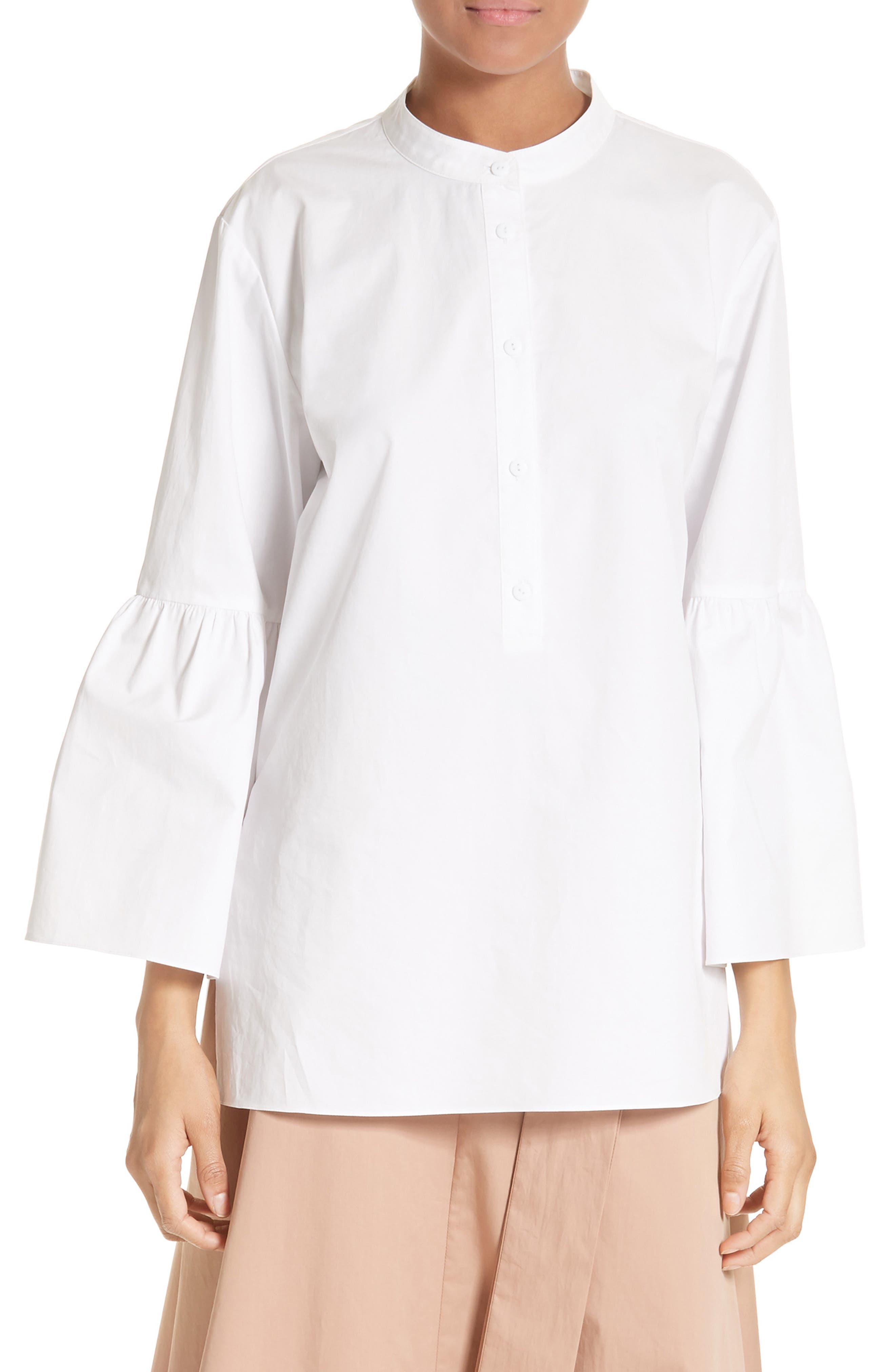 Shirred Satin Poplin Shirt,                         Main,                         color, White