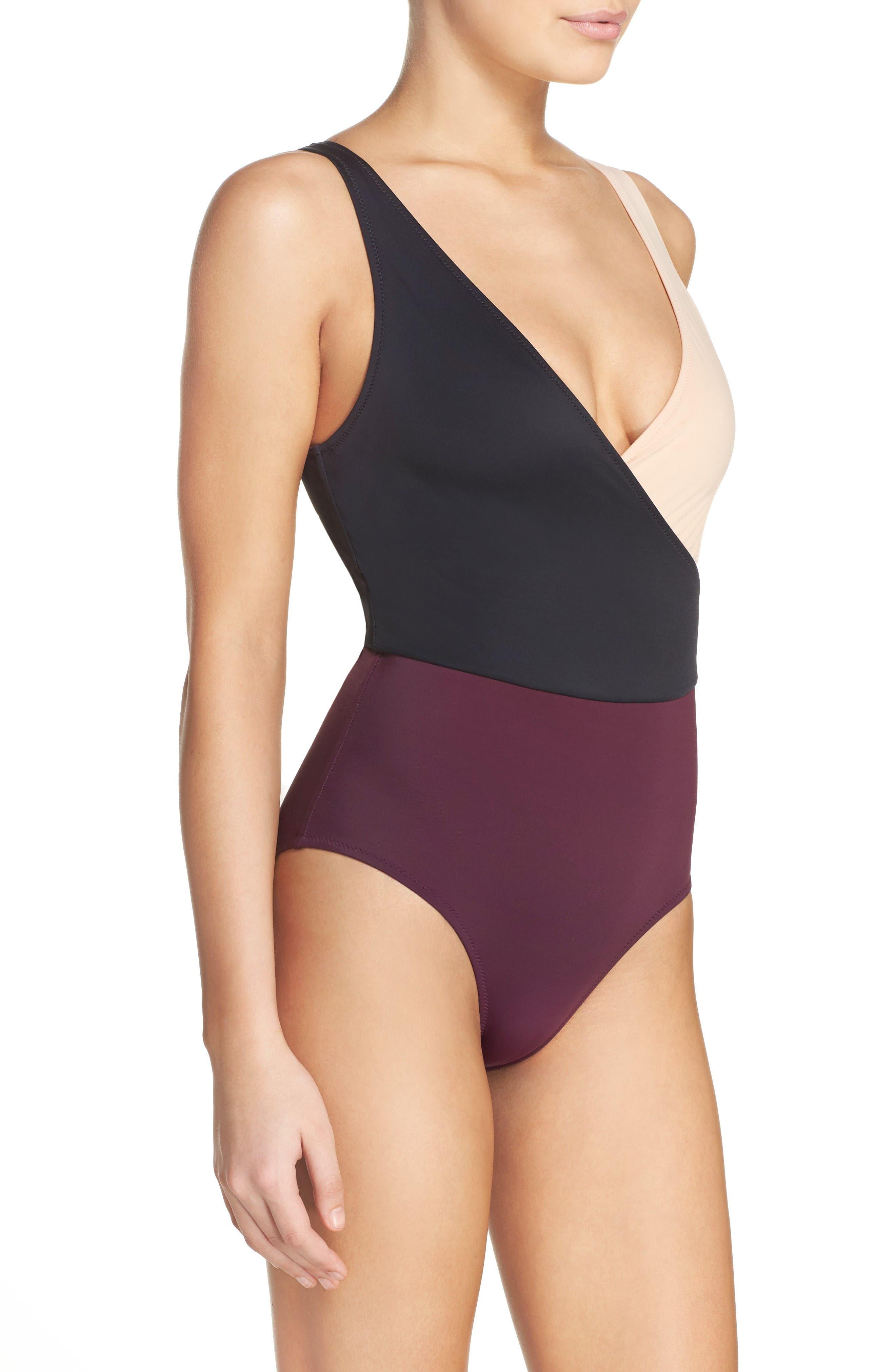 Alternate Image 3  - Solid & Striped Ballerina One-Piece Swimsuit