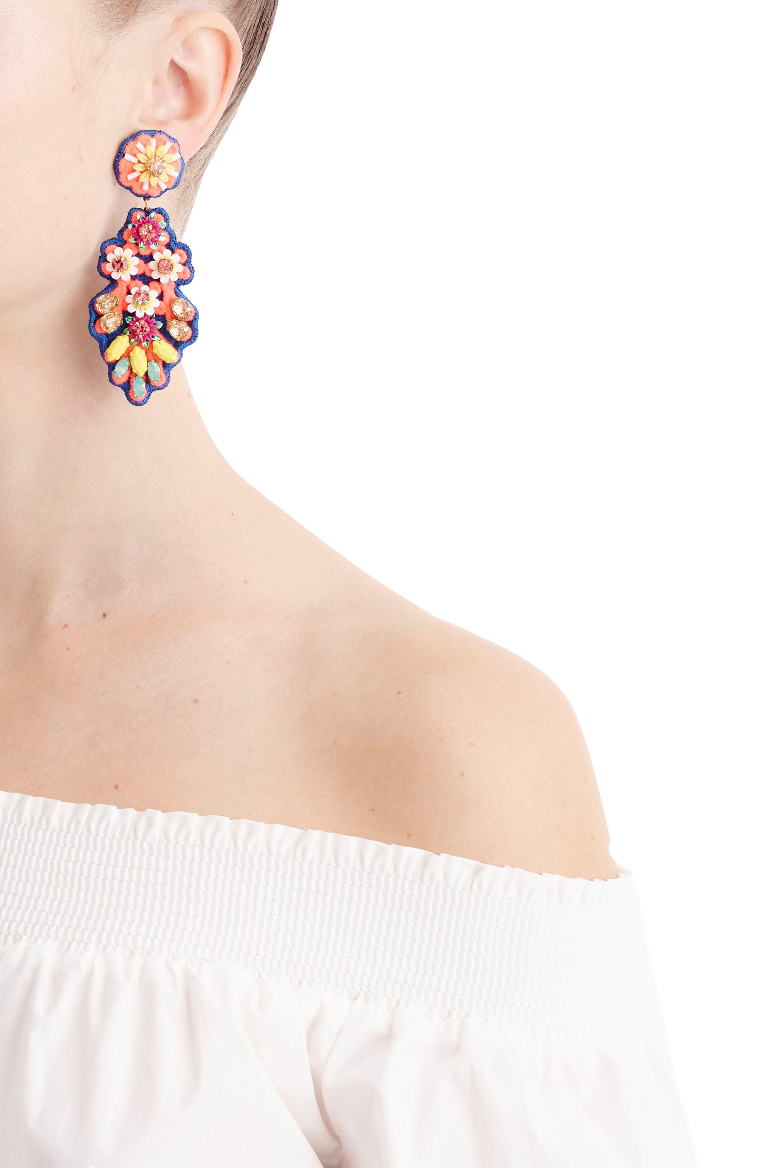 Alternate Image 2  - J.Crew Embroidered Crystal Earrings