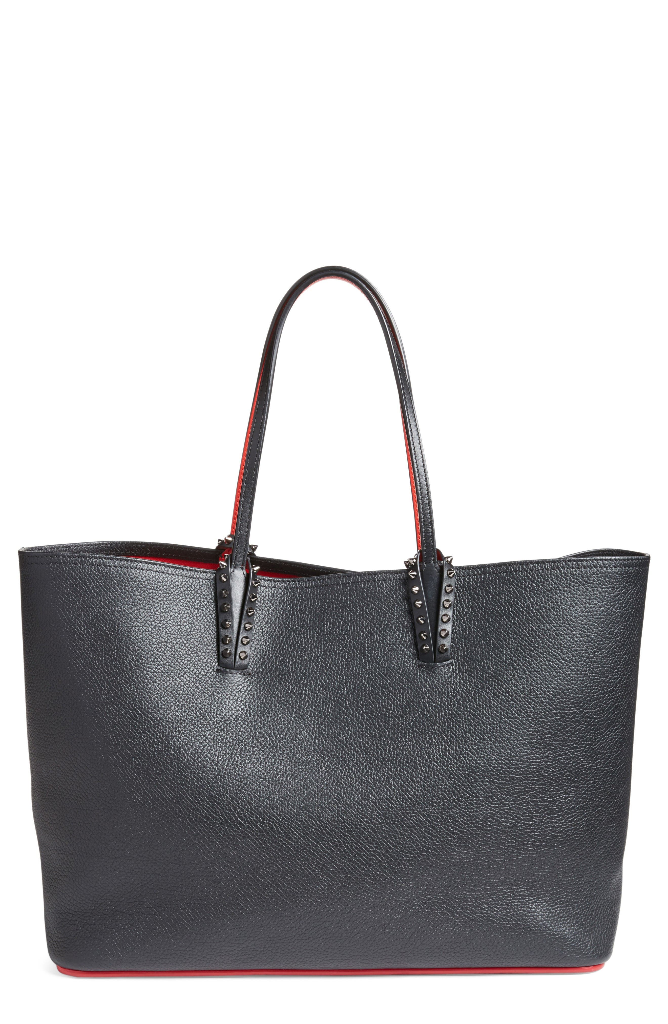 Cabata Calfskin Leather Tote,                         Main,                         color, Black/Black