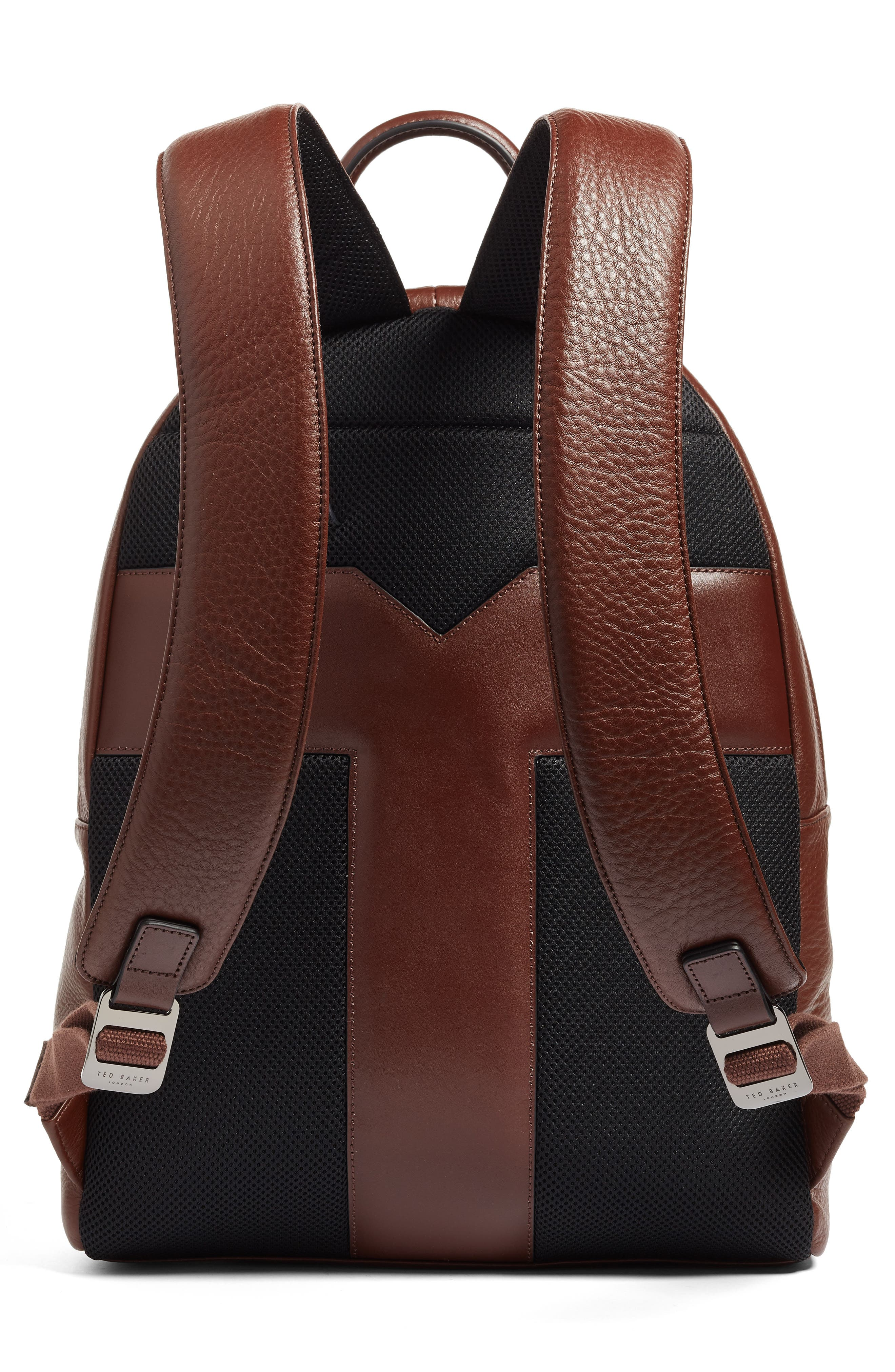 Leather Backpack,                             Alternate thumbnail 3, color,                             Tan