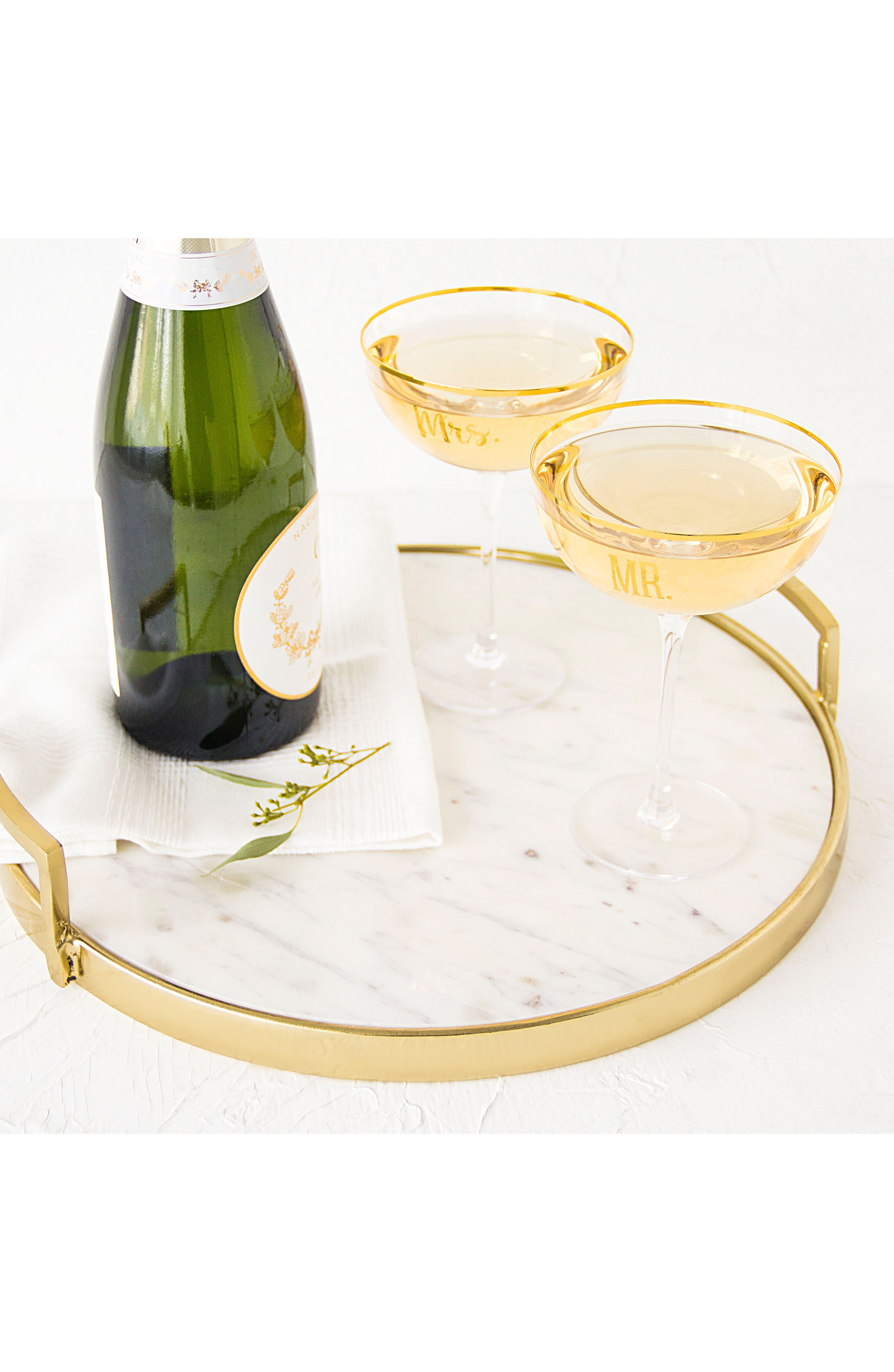 Mr. & Mrs. Set of 2 Champagne Coupe Toasting Glasses,                             Alternate thumbnail 7, color,                             Gold