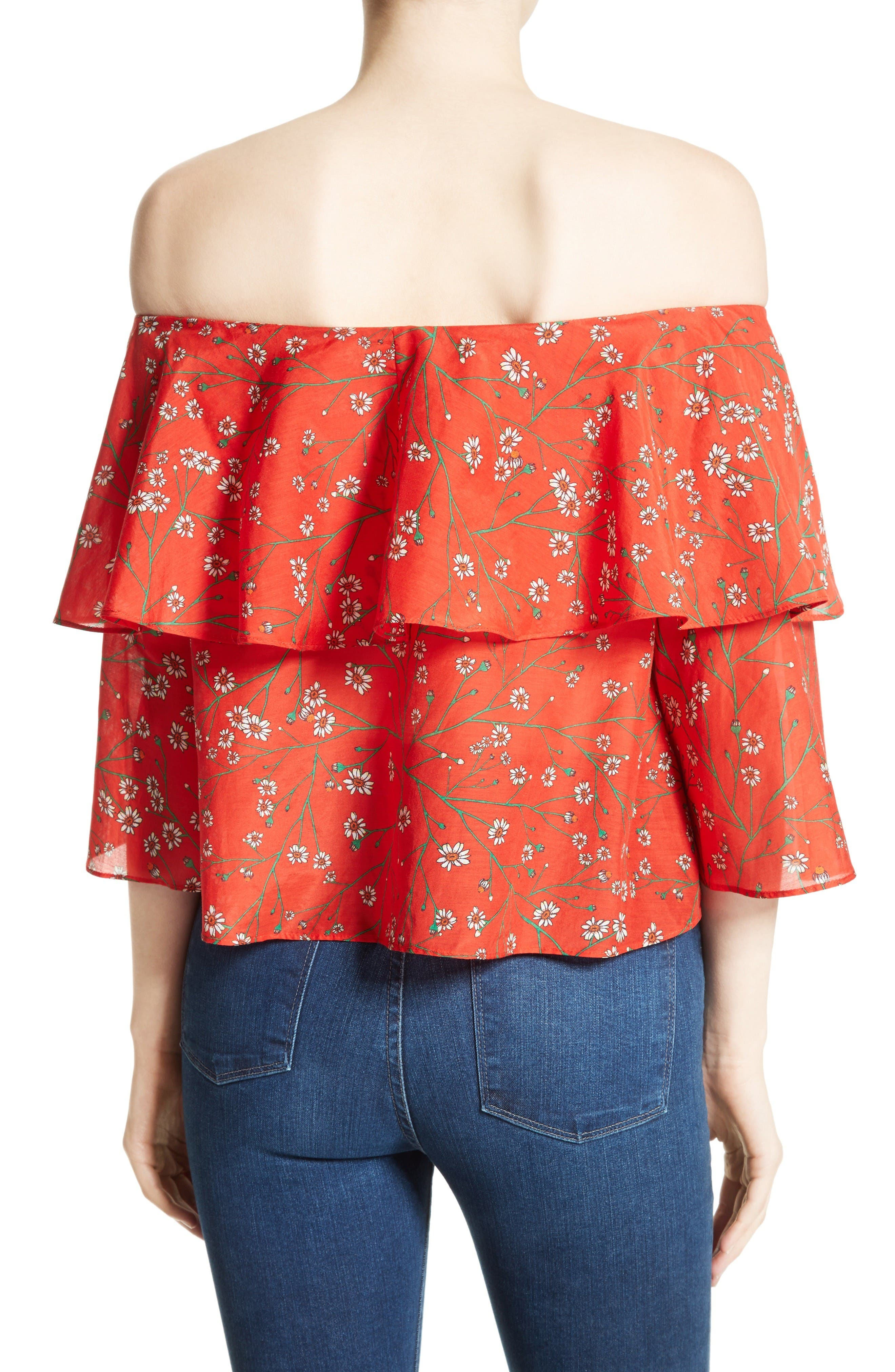 Meagan Double Layer Off the Shoulder Top,                             Alternate thumbnail 2, color,                             Dainty Daisy