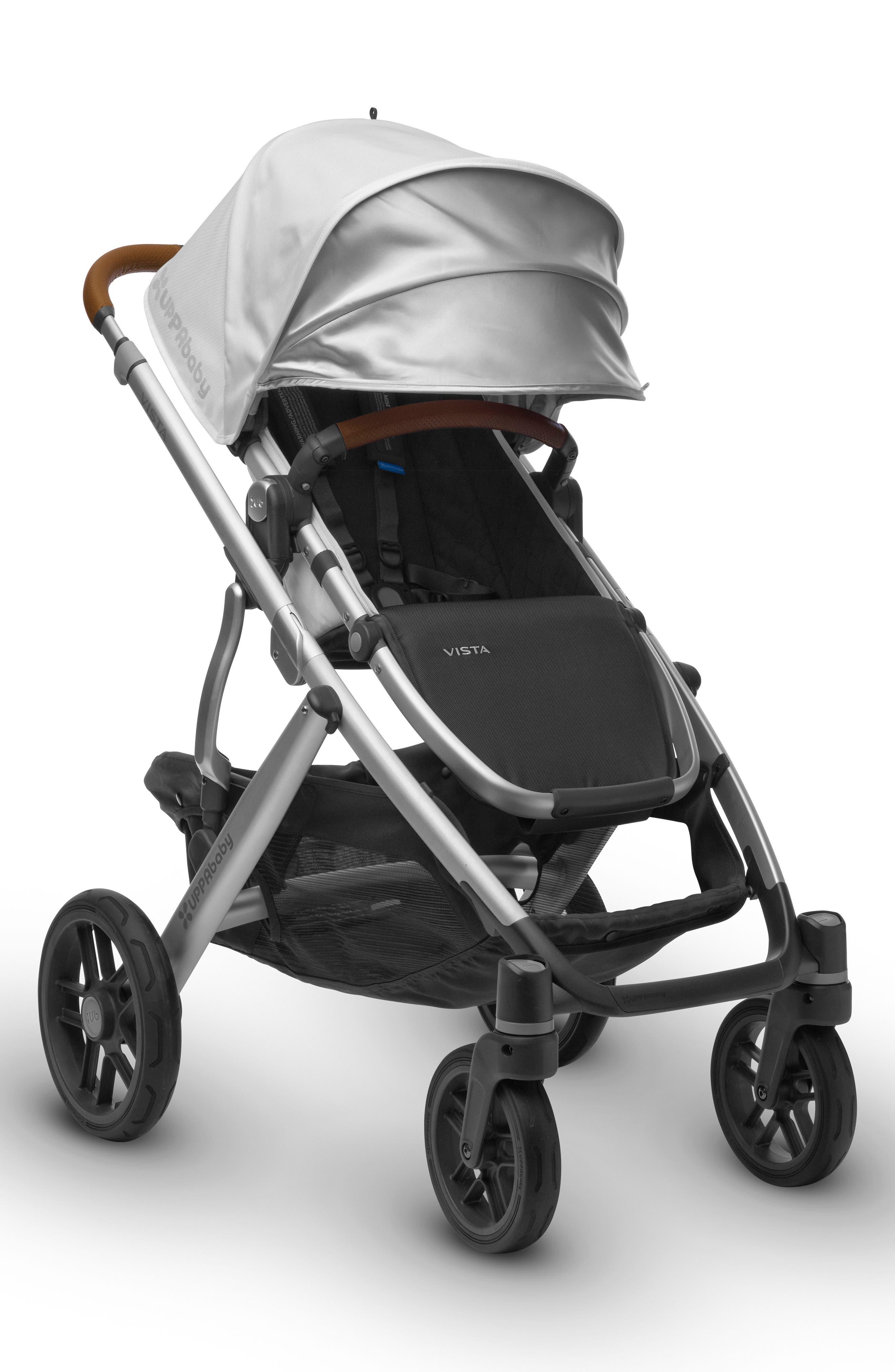2017 VISTA Aluminum Frame Convertible Stroller with Bassinet & Toddler Seat,                             Alternate thumbnail 2, color,                             White/ Silver
