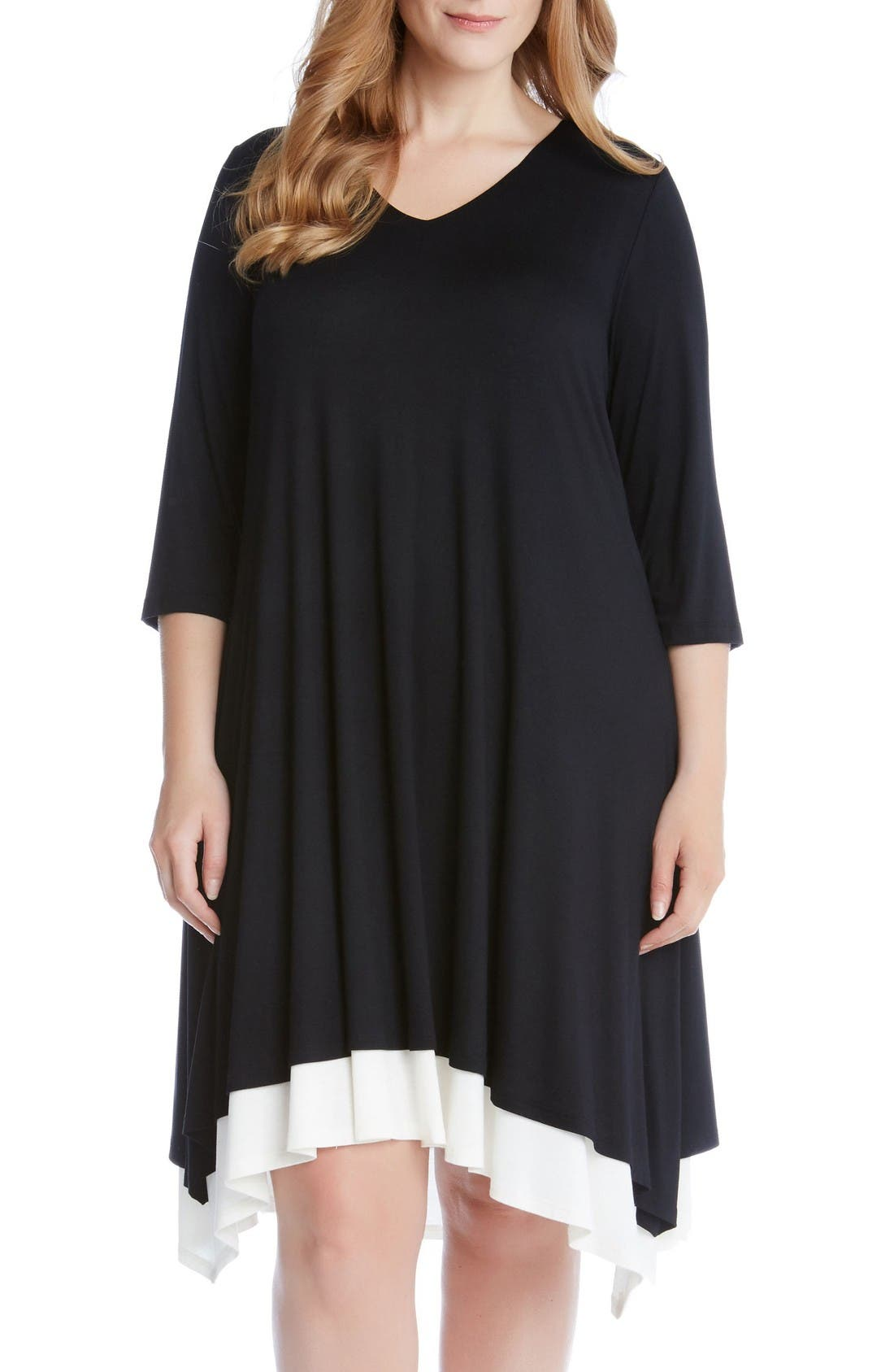 Stretch Knit Swing Dress,                             Main thumbnail 1, color,                             Black
