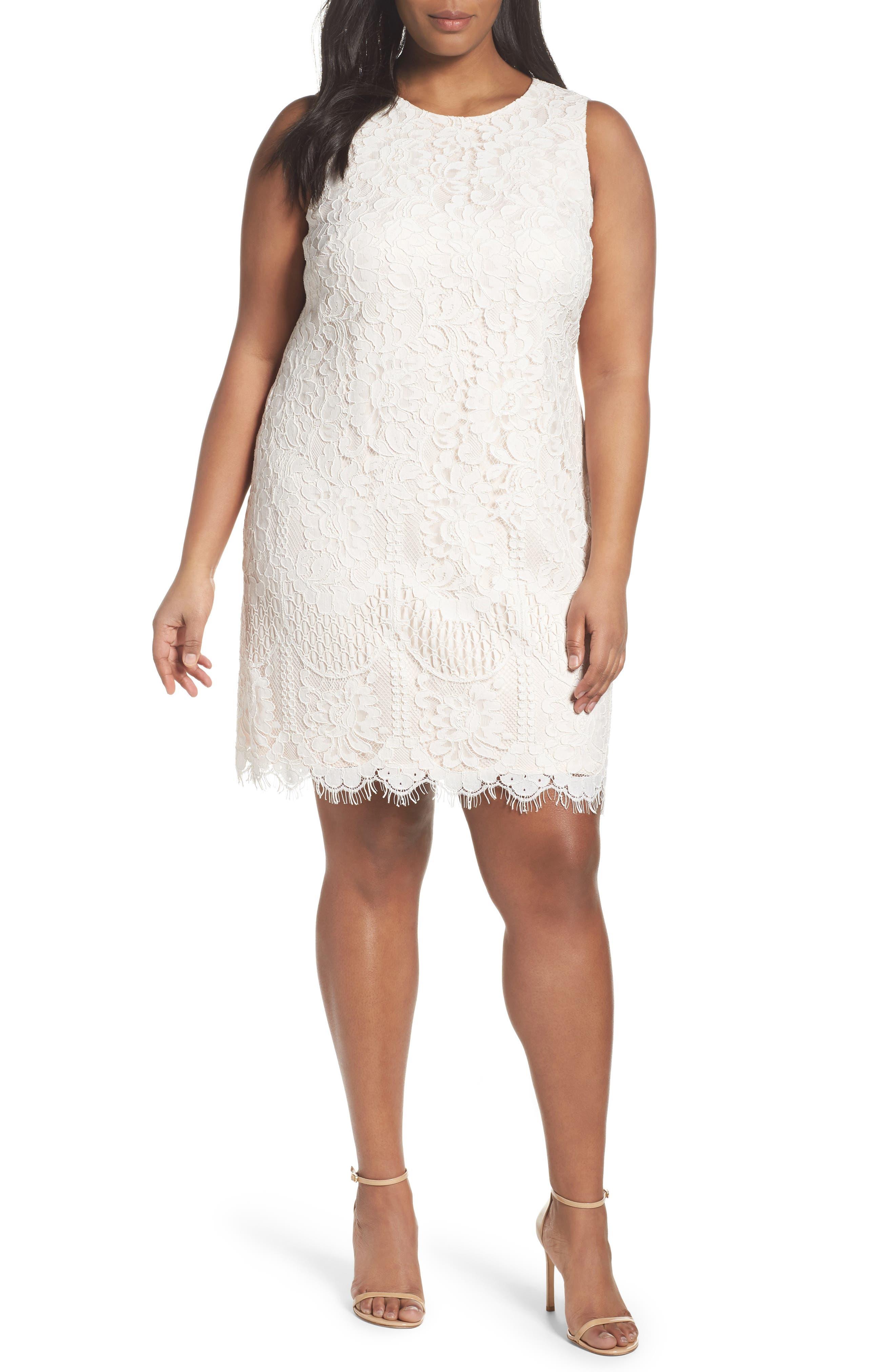 Lace Shift Dress,                             Main thumbnail 1, color,                             Ivory/ Beige