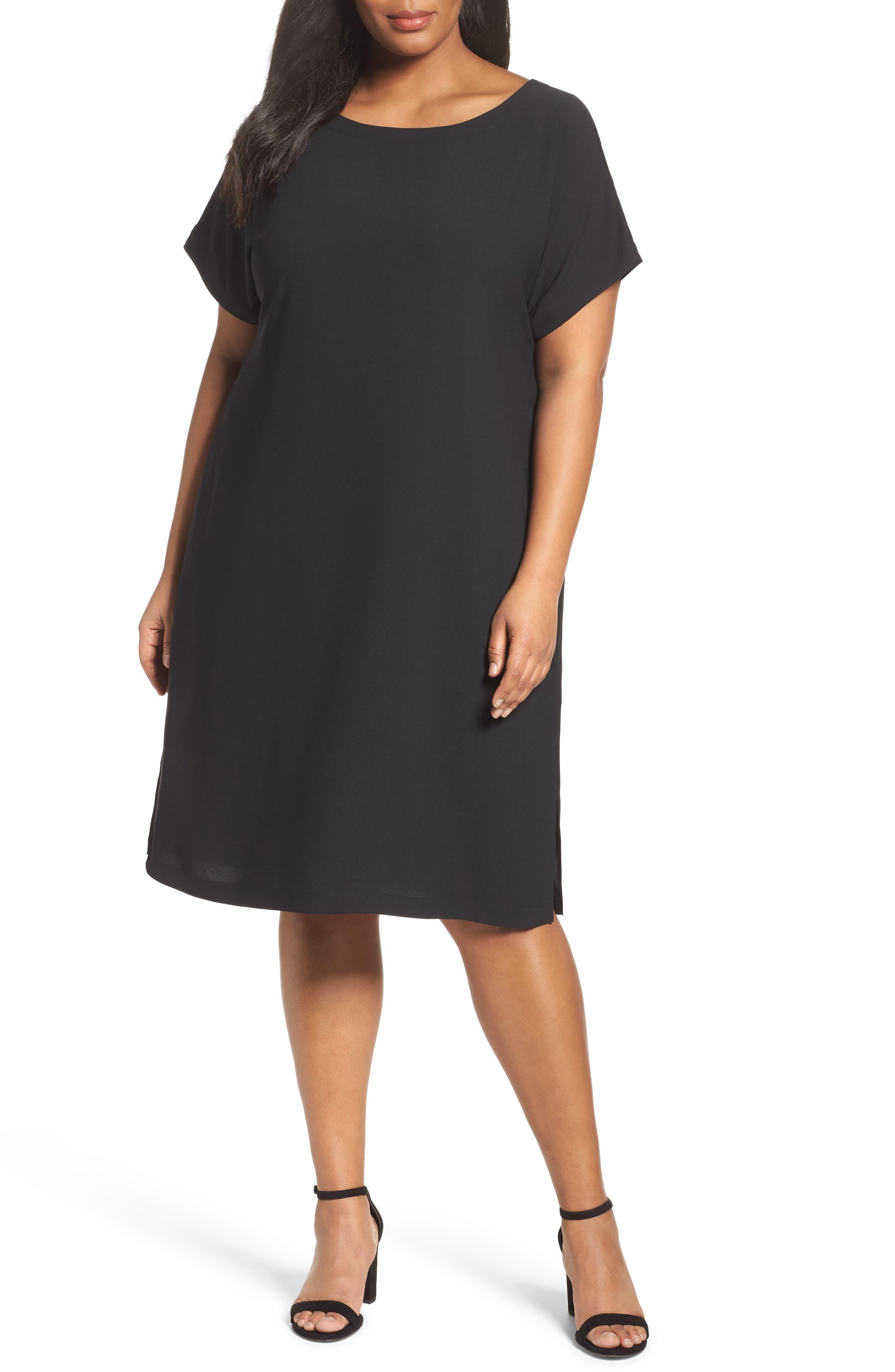 Keyhole Back Shift Dress,                         Main,                         color, Black